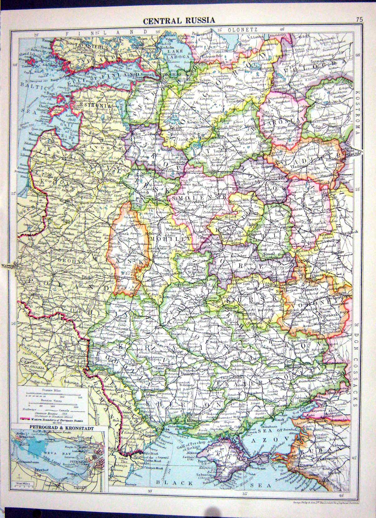 [Print Cassell Map 1920 Russia Moscow Petrograd Africa Europe Arabia 075J116 Old Original]