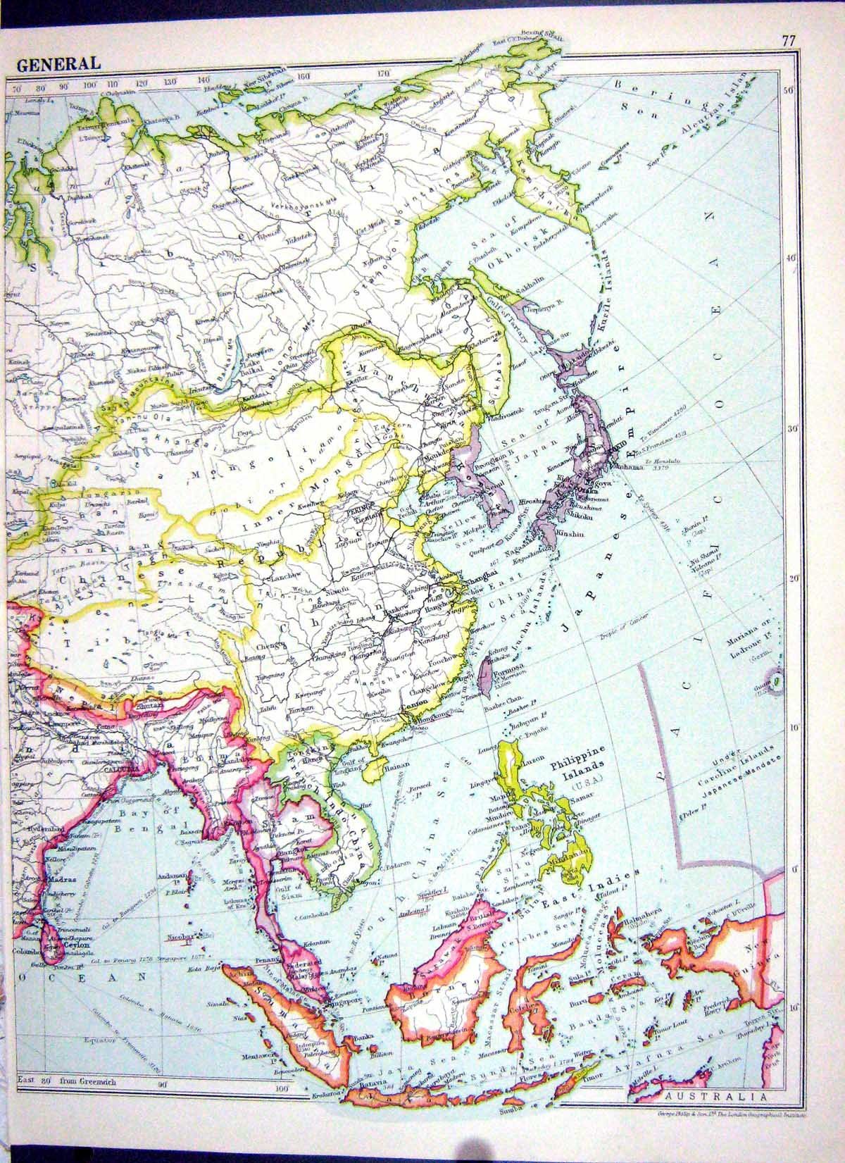 OldPrint Antique And Victorian Art Prints Paintings World Maps - Japan map 1920