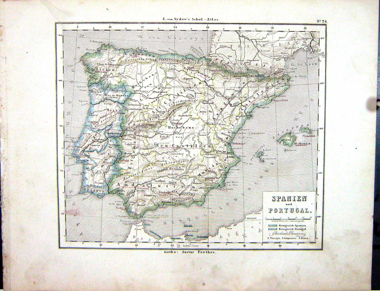 OldPrint Antique And Victorian Art Prints Paintings World Maps - Portugal map to print