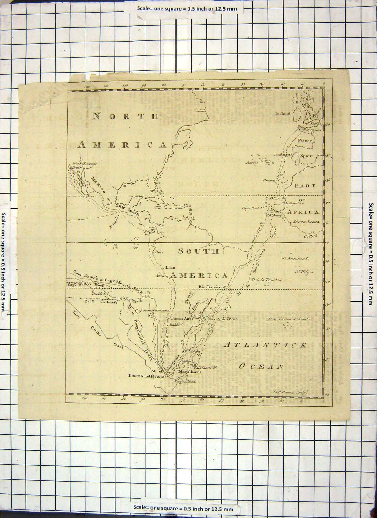 [Print Map North South America Mexico Africa Sierra Leone 114J133 Old Original]