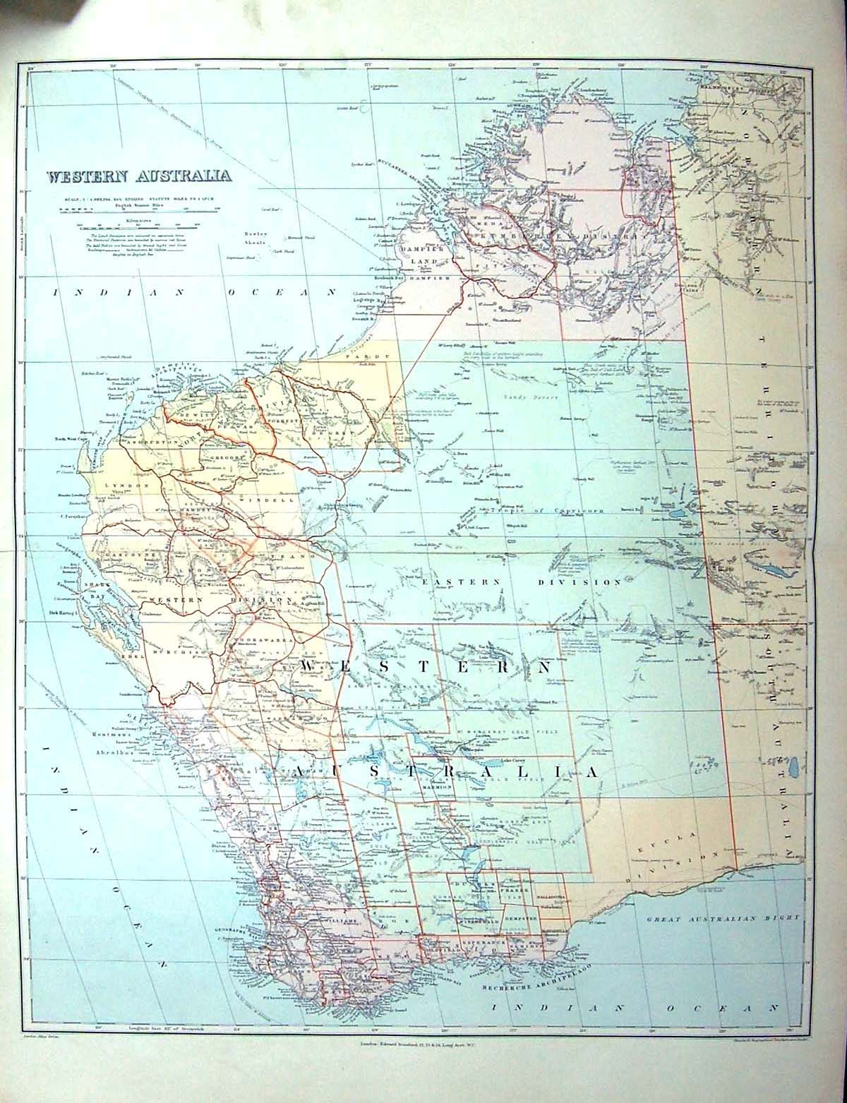 Old print antique and victorian art prints paintings world maps print stanford map western australia perth shark bay murchison edel 202j142 old original gumiabroncs Gallery