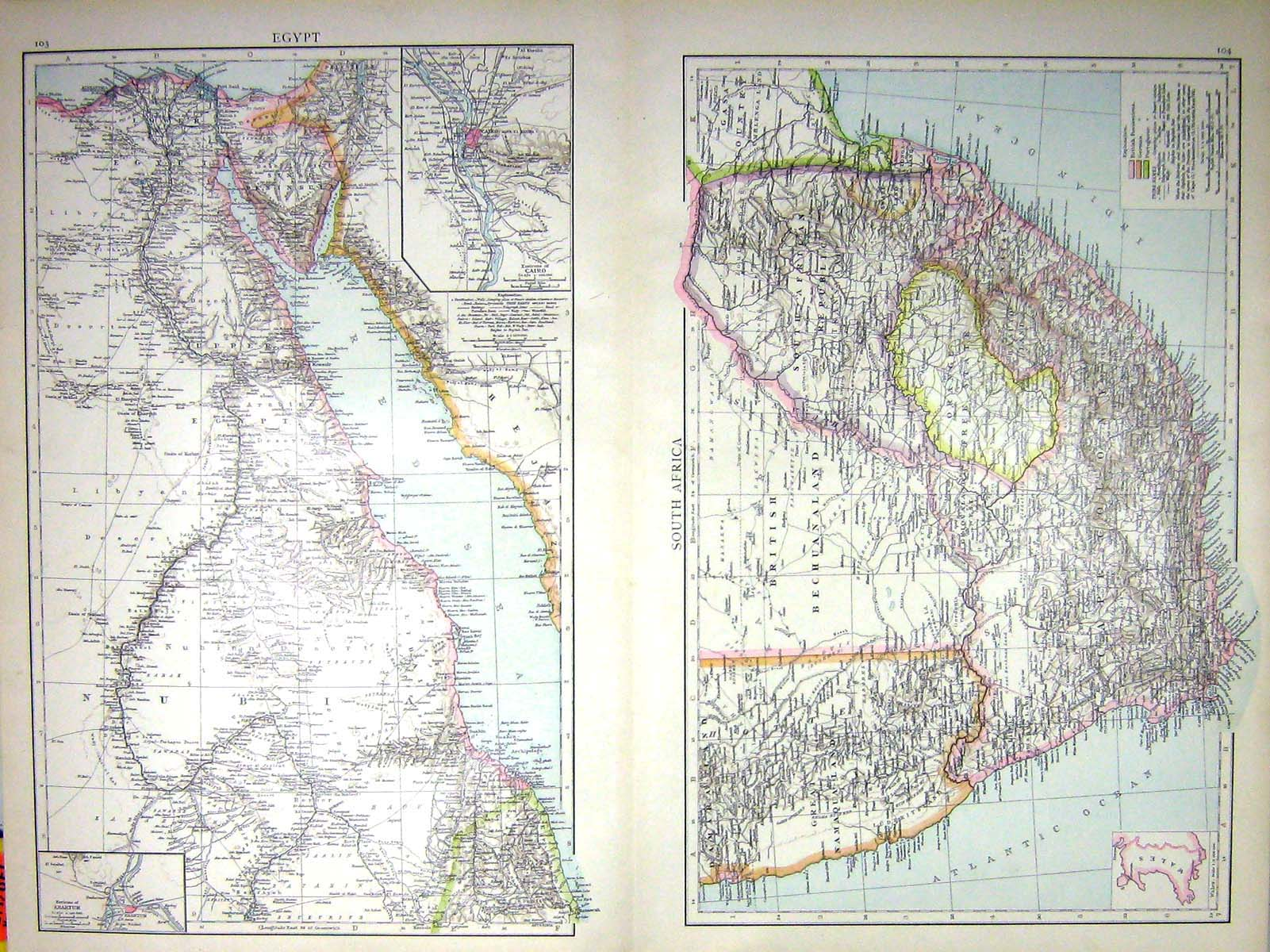 [Print Egypt South Africa Map C1897 Nubia Khartum Cairo Environs Cape 044Tj151 Old Original]