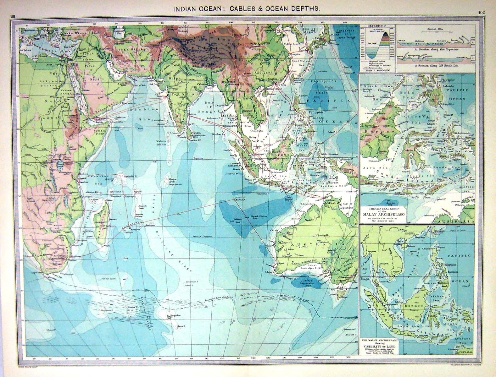 Print Indian Ocean Cables Depths Map C Malay Archipelago - Ocean maps with depths