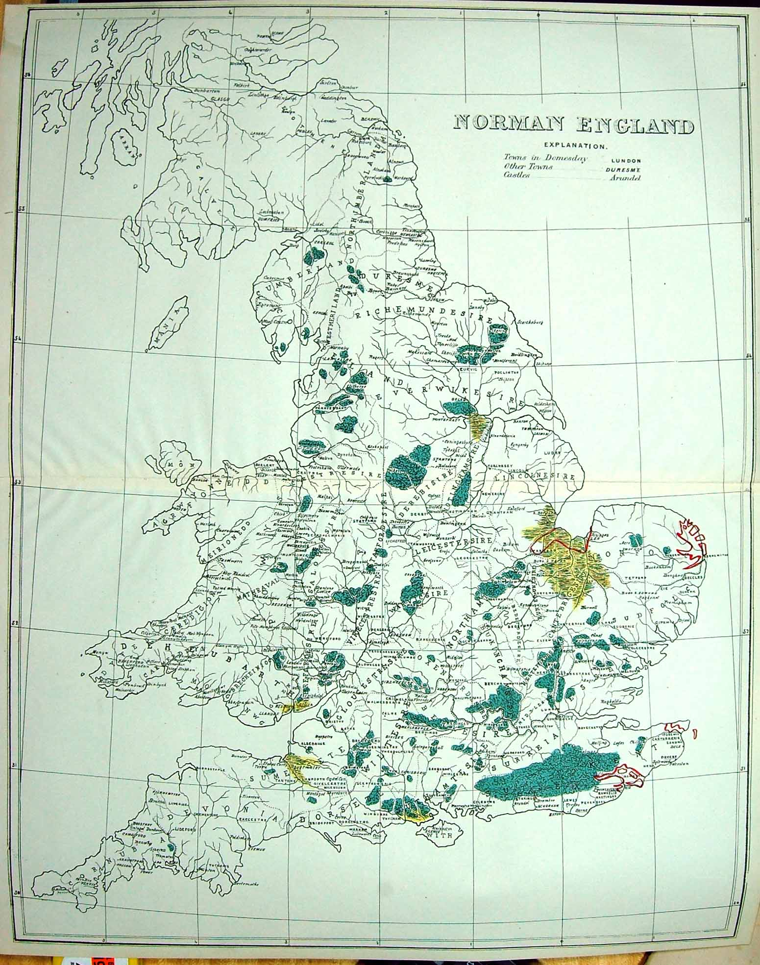 Old print antique and victorian art prints paintings world maps print pearson text map england 1870 norman england surreia lincolnshire 004j154 old original gumiabroncs