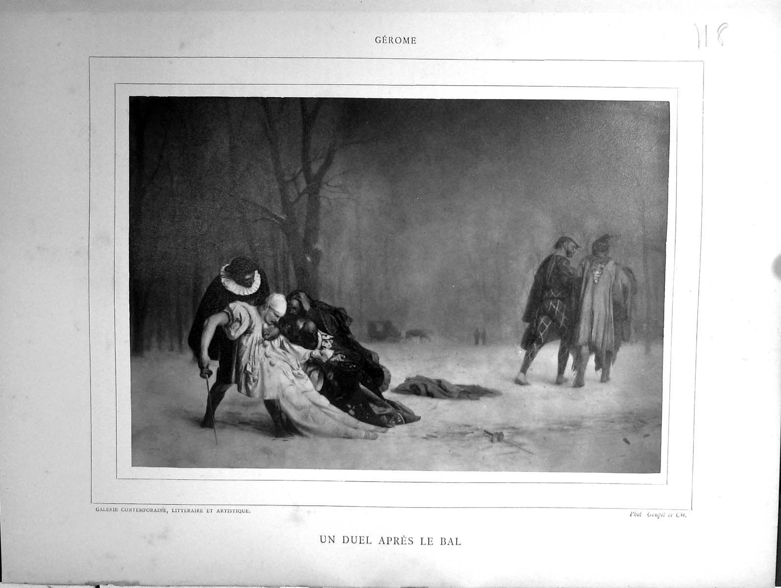 [Print Galerie Contemporaine 1880 Baschet Gerome Duel Apres Le Bal Dog S 118J167 Old Original]
