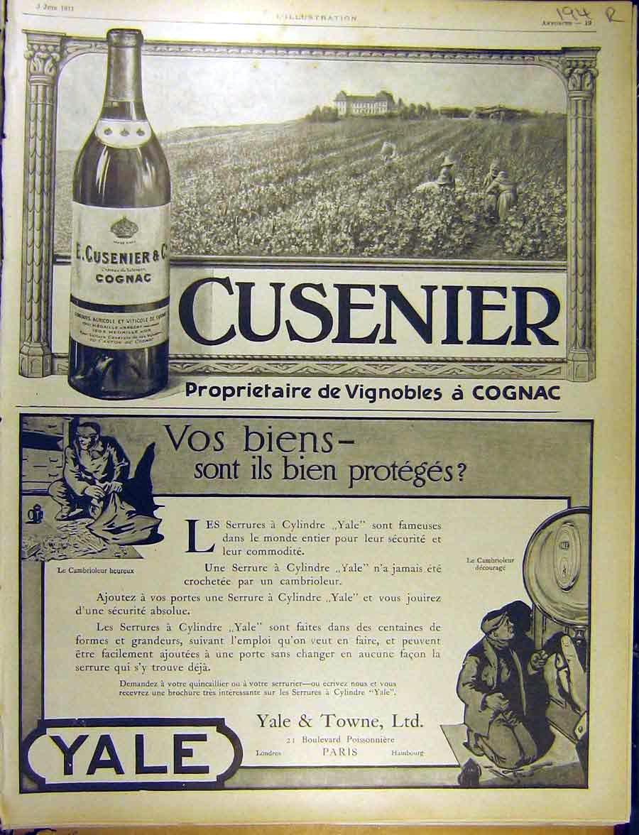 Print 1911 Advert Cusenier Cognac Yale Towne Proteges French 94Rlil1 Old Original