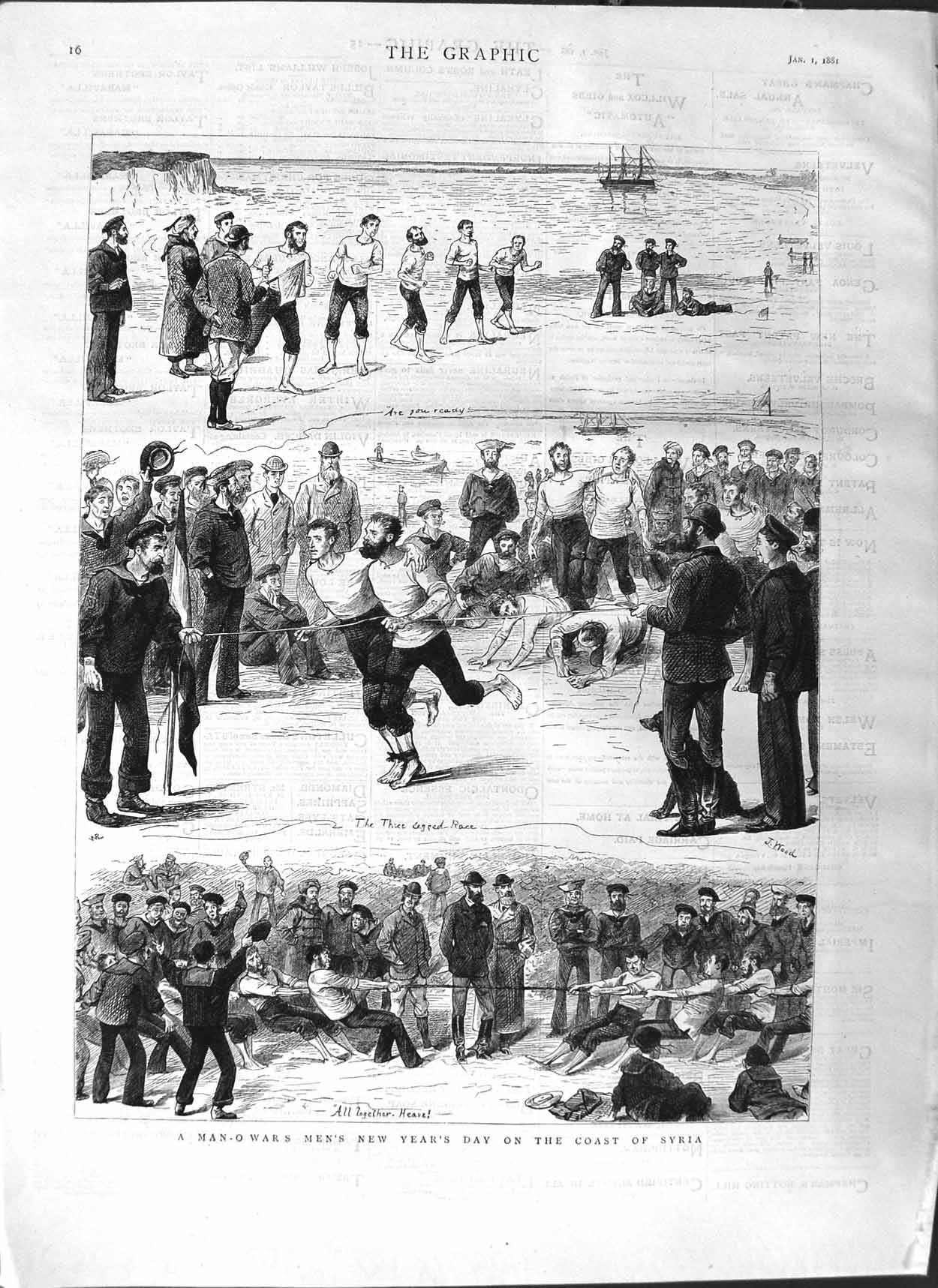 [Print 1881 Soldiers Sport New Years Syria Ship Man-O-War 016M123 Old Original]