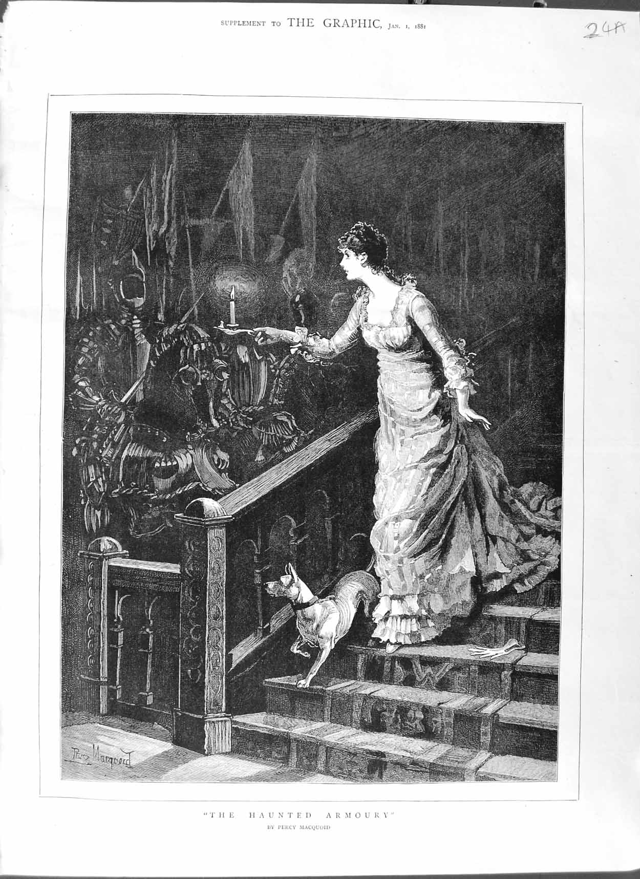 [Print 1881 Percy Macquoid Fine Art Lady Stairs Candle Dog 024Am123 Old Original]