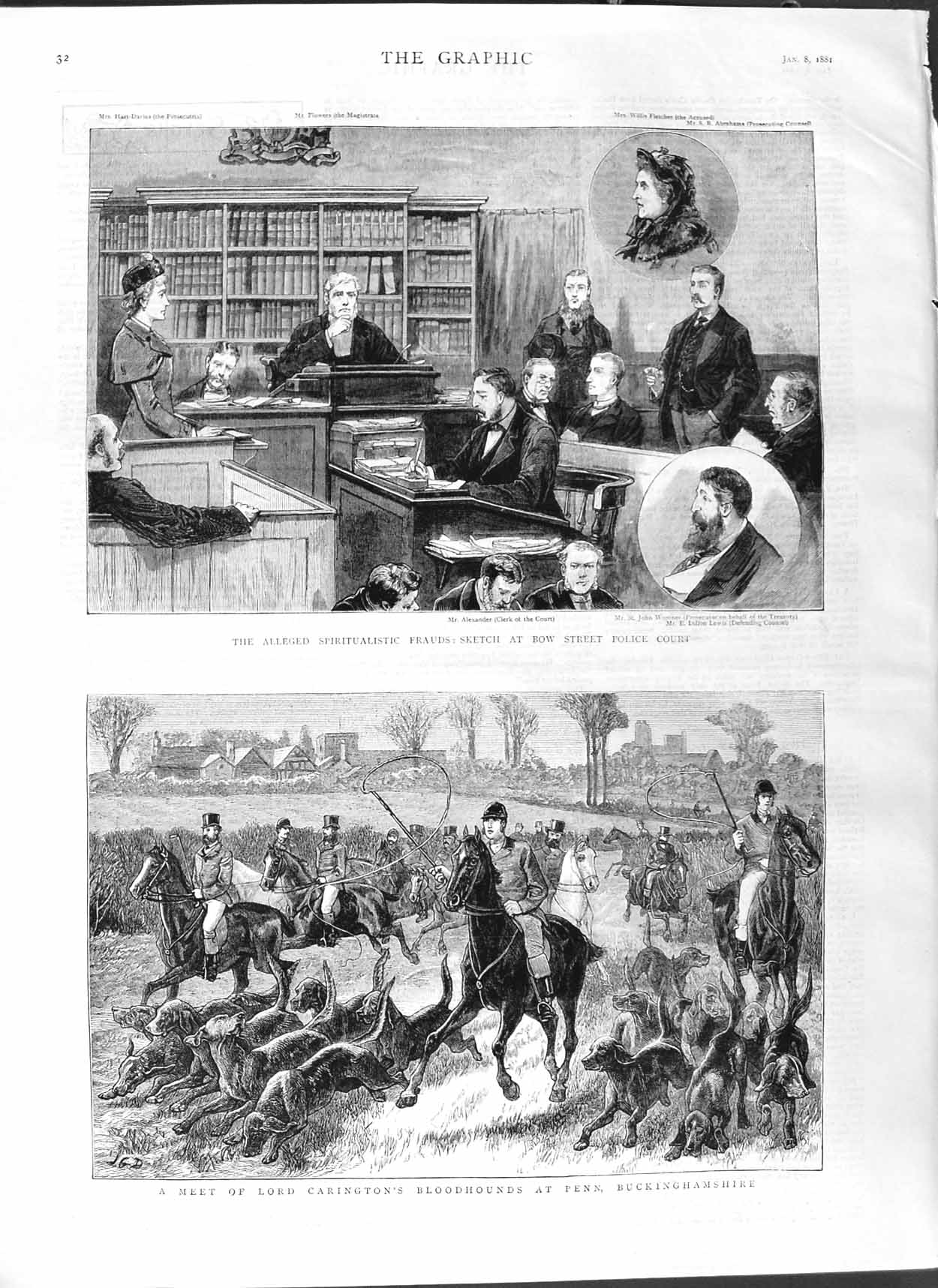 [Print 1881 Bow Street Police Court Lord Carington Hounds Penn 032M123 Old Original]