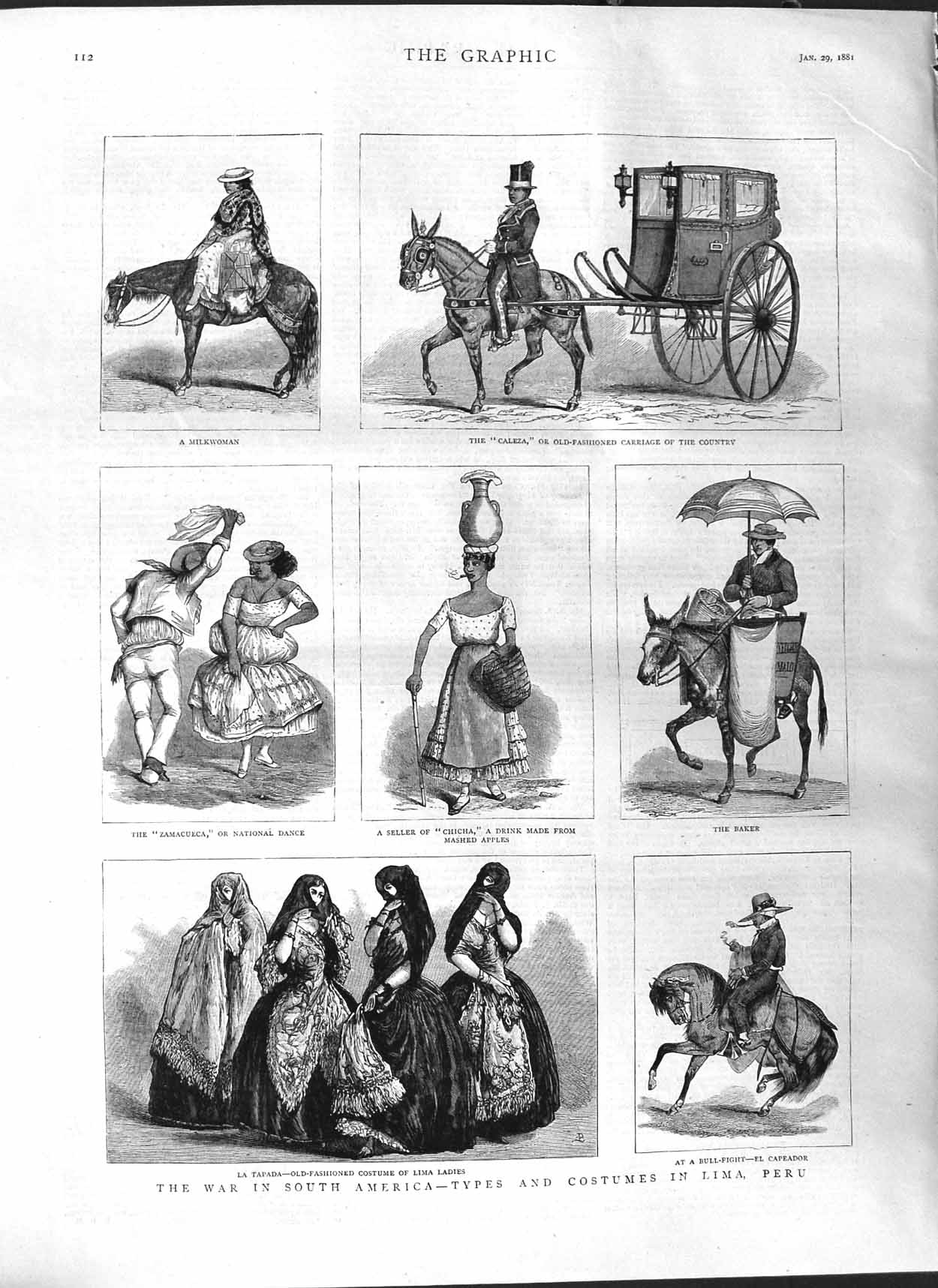 [Print 1881 South America Costumes Lima Peru Baker Caleza 112M123 Old Original]