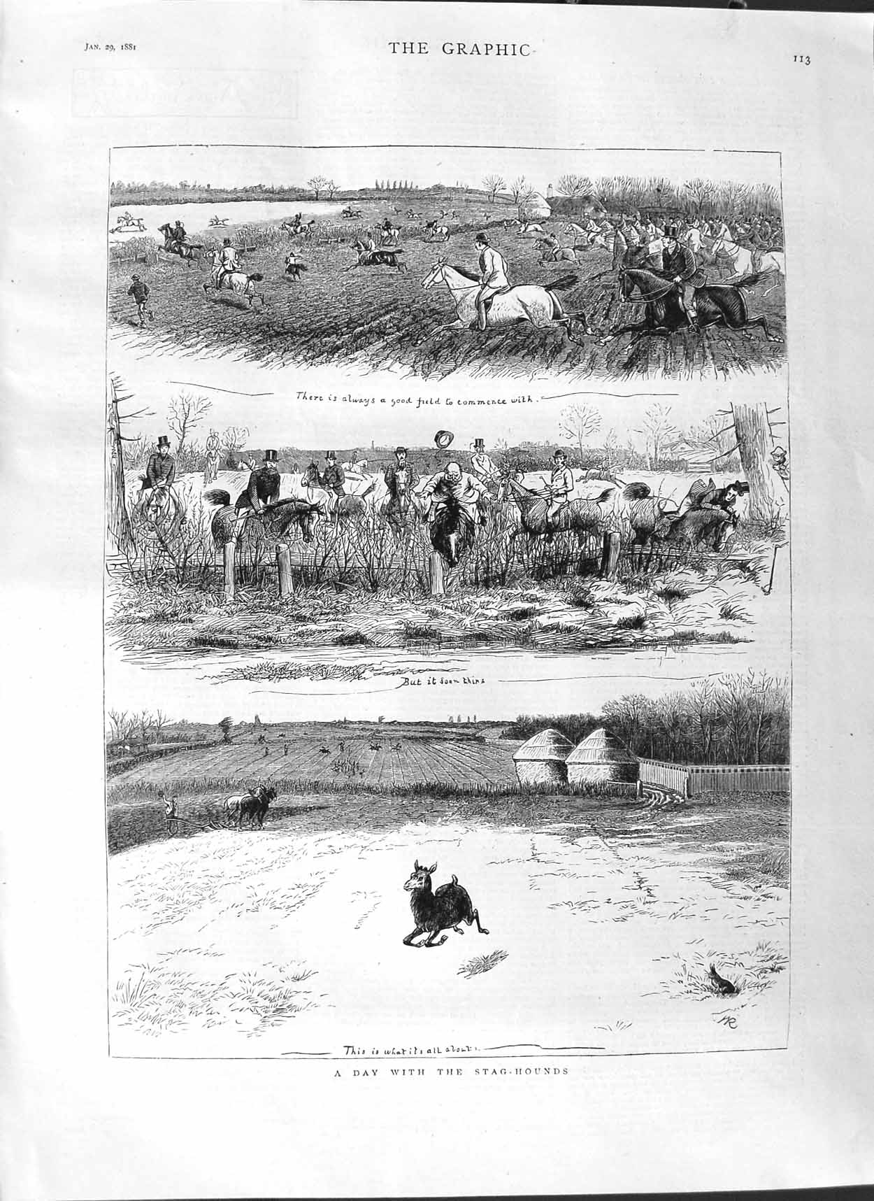 [Print 1881 Stag Hounds Dogs Hunting Sport Country Horses 113M123 Old Original]