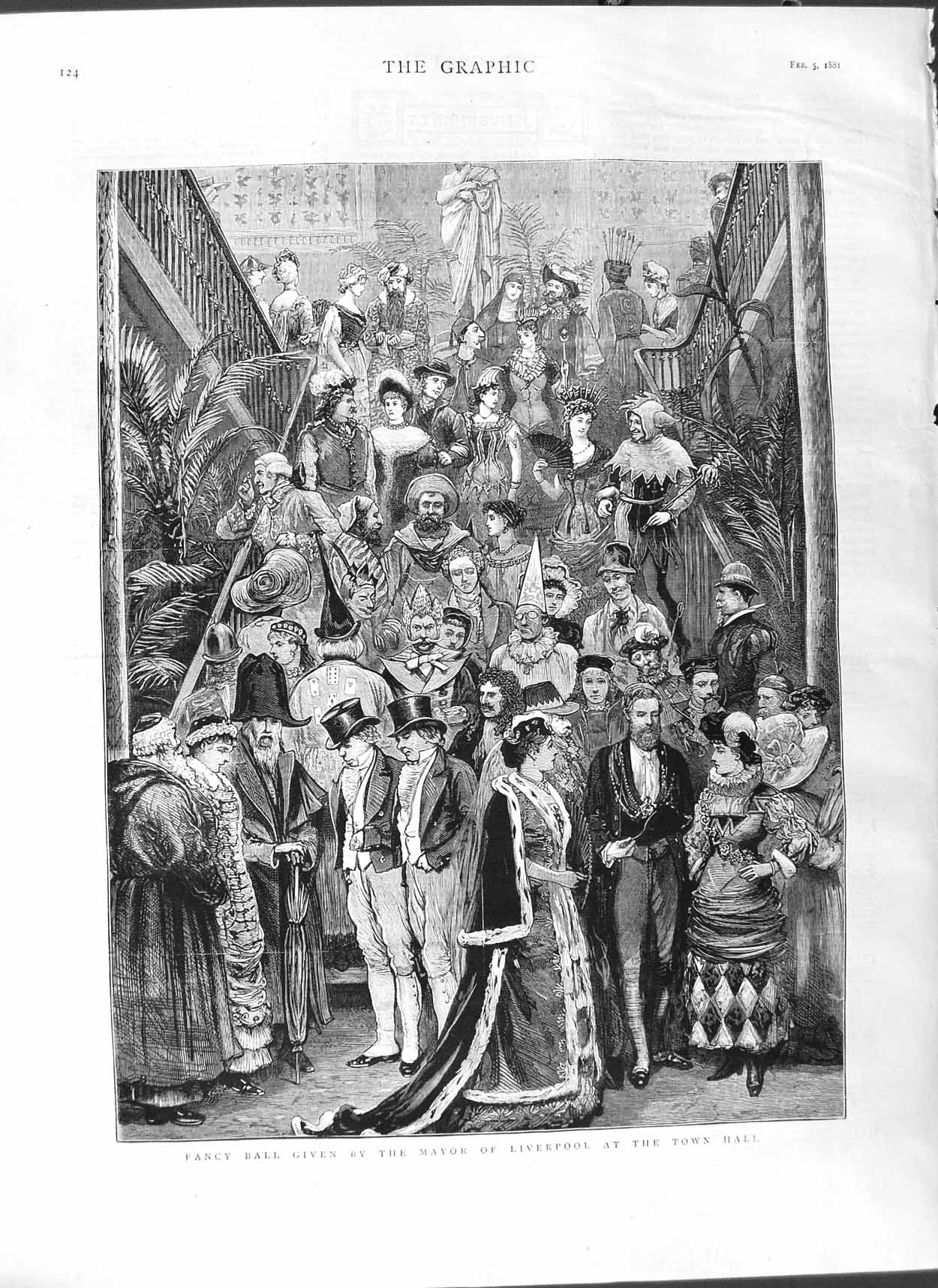 [Print 1881 Fancy Ball Mayor Liverpool Town Hall Costumes 124M123 Old Original]