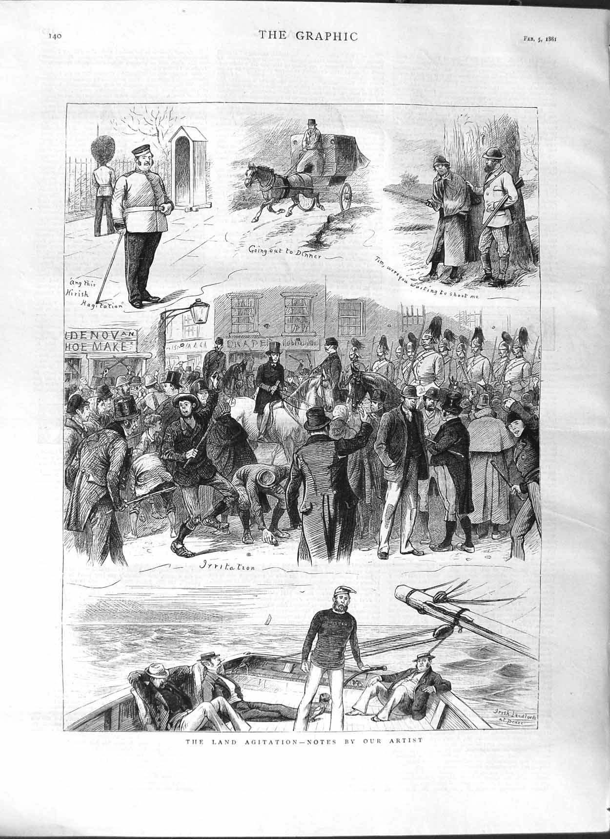 [Print 1881 Land Agitation Men Boat Guard Soldiers Horses 140M123 Old Original]