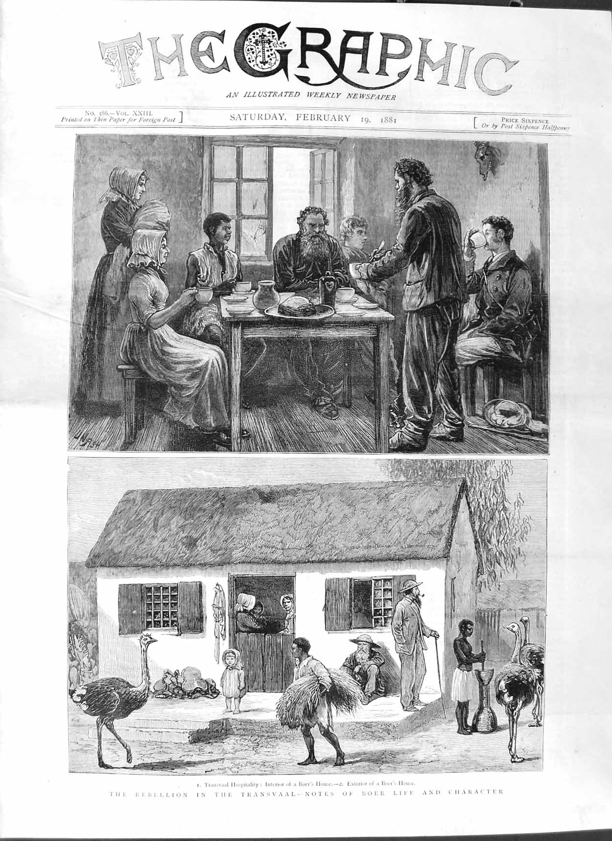 [Print 1881 Transvaal War Boer Life House Ostrich Natives 169M123 Old Original]