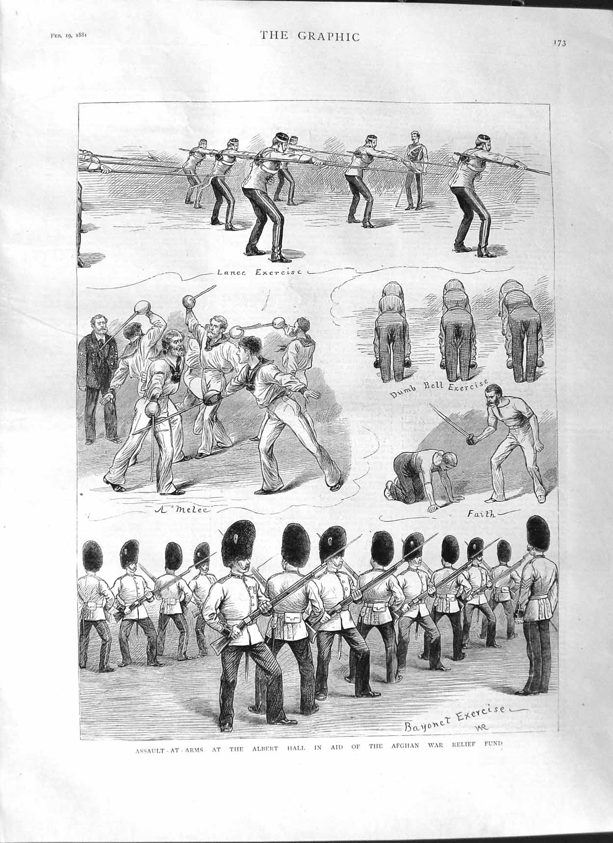 [Print 1881 Assault Arms Albert Hall Afghan War Relief Soldier 173M123 Old Original]