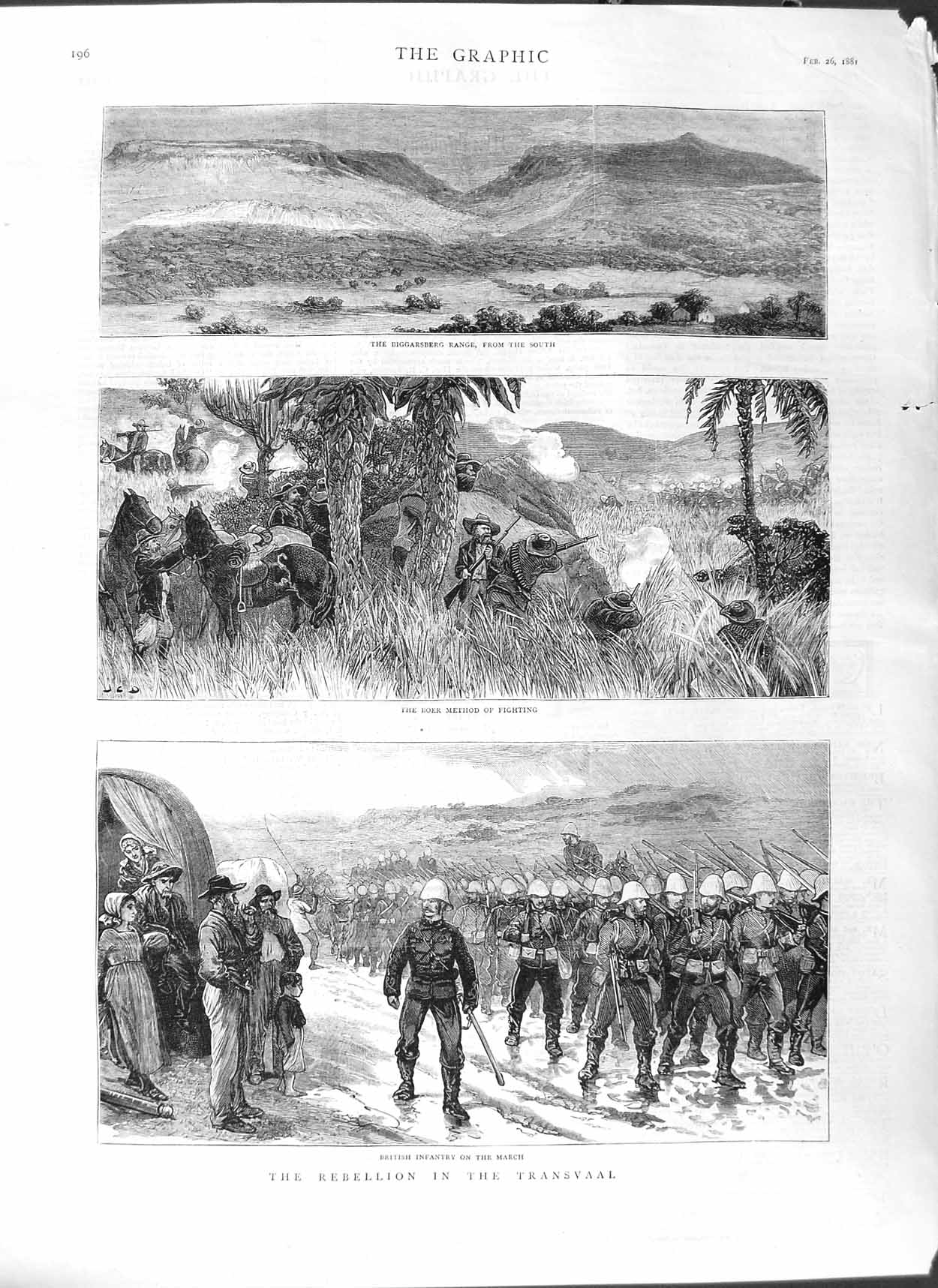 [Print 1881 Transvaal War British Soldiers Biggarsberg Boer 196M123 Old Original]