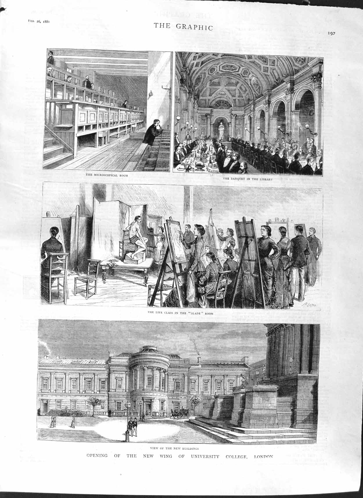 [Print 1881 University College London Library School Students Old Original]