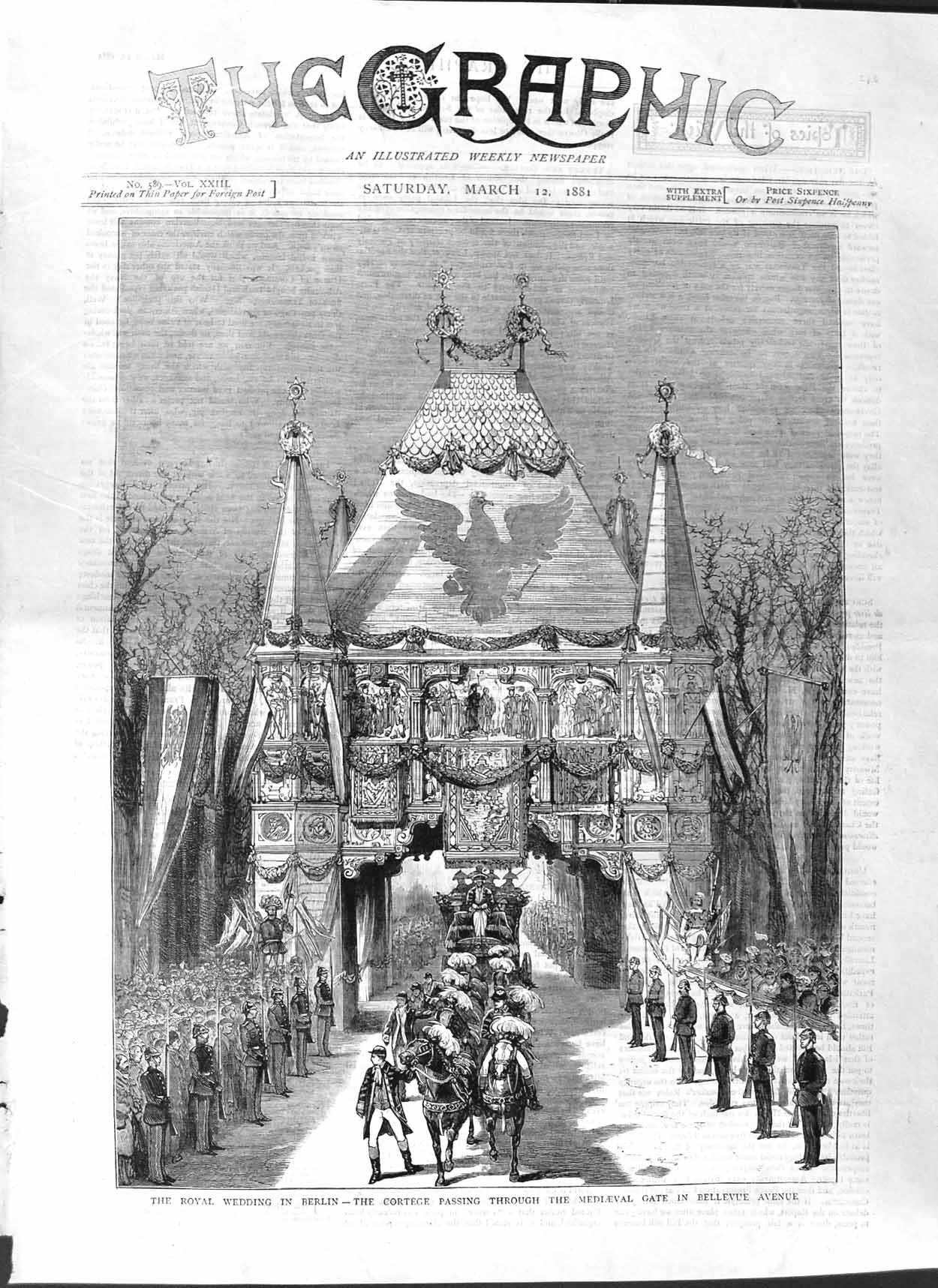 [Print 1881 Royal Wedding Berlin Mediaeval Gate Bellevue 241M123 Old Original]
