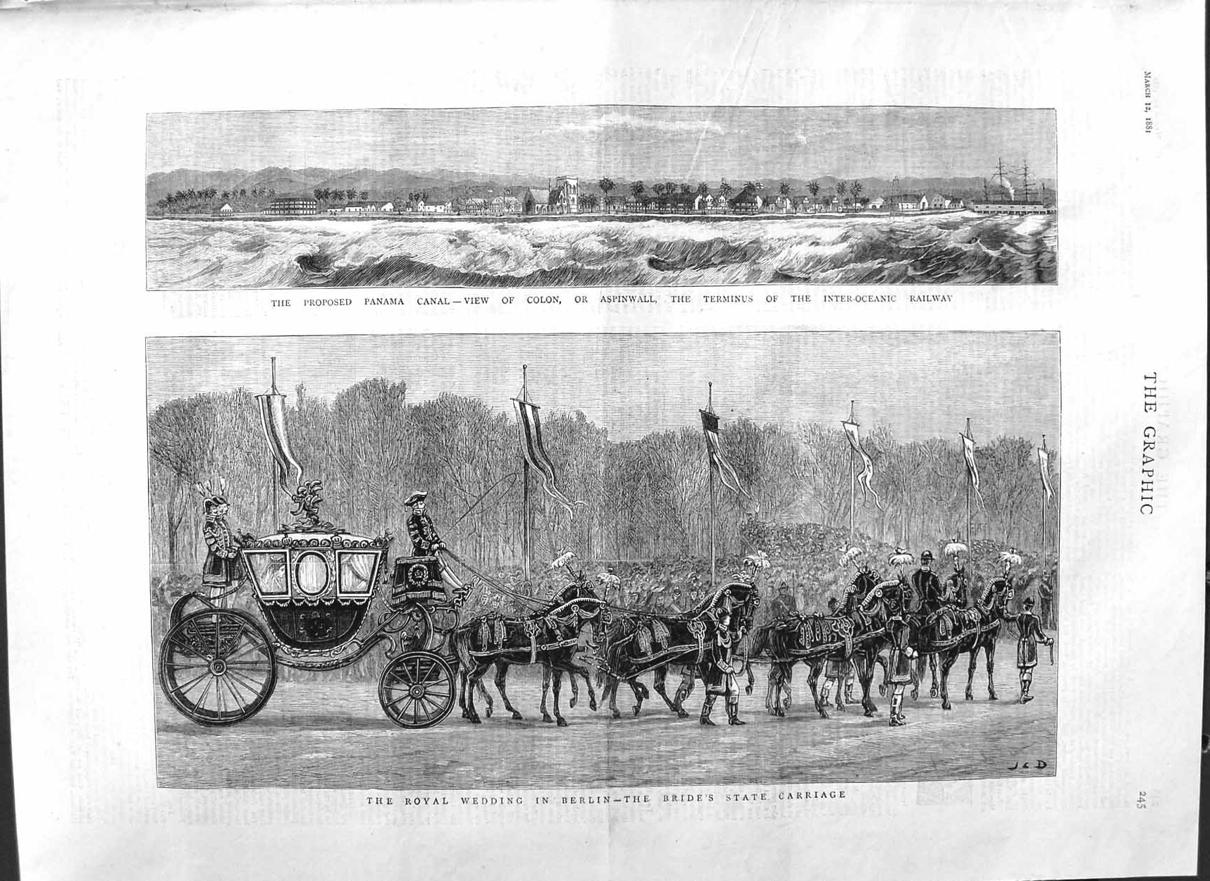 [Print 1881 Panama Canal Colon Aspinwall Royal Wedding Berlin 245M123 Old Original]