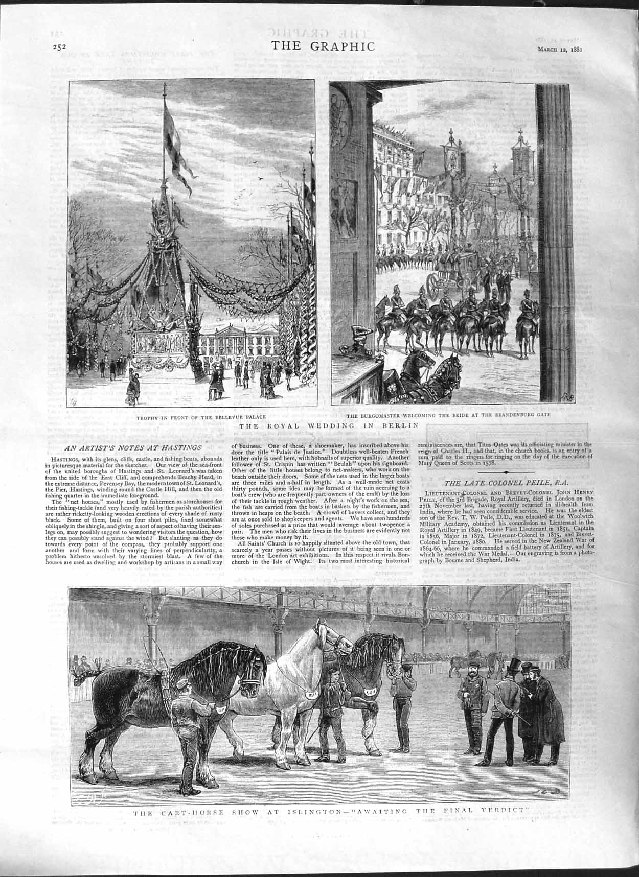 [Print 1881 Cart Horse Show Islington Royal Wedding Berlin 252M123 Old Original]