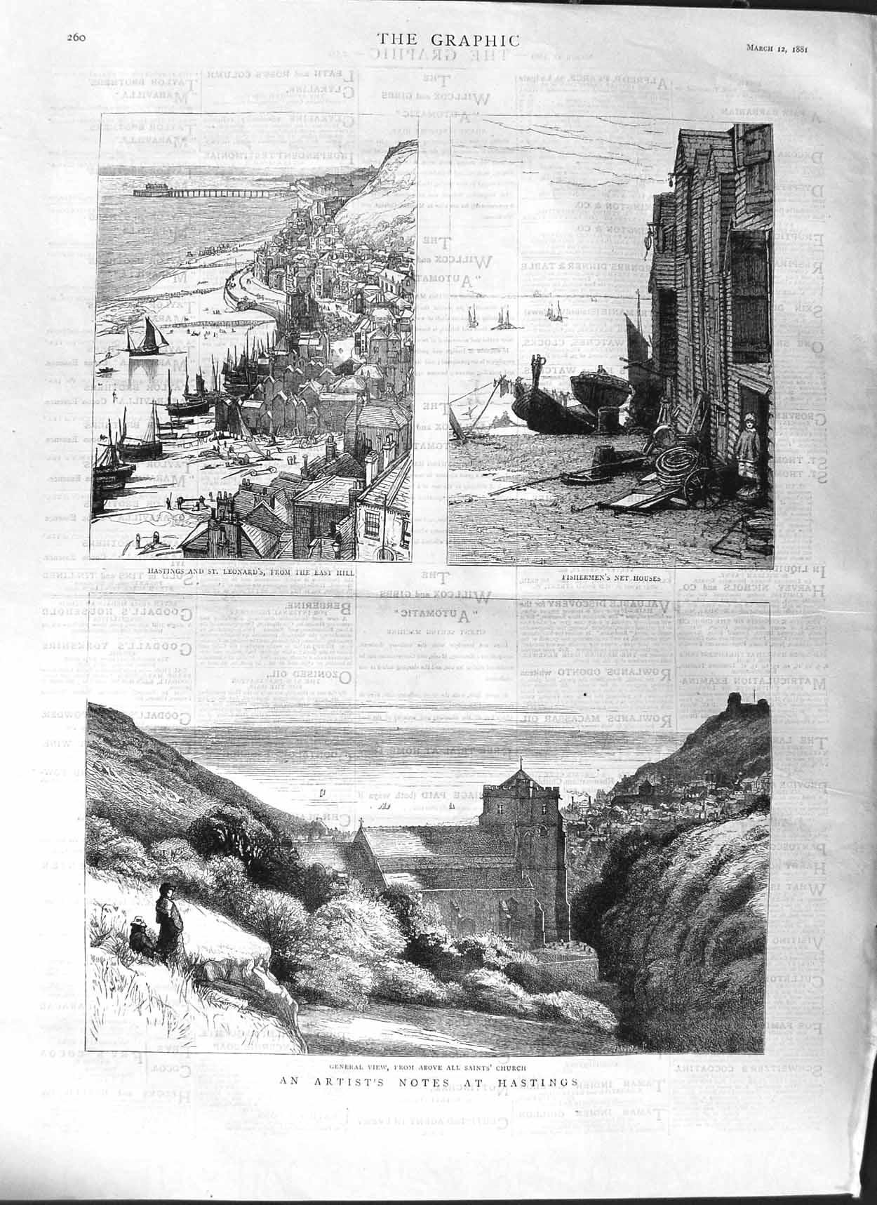 [Print 1881 Hastings All Saints Church Fishermen Net Houses 260M123 Old Original]