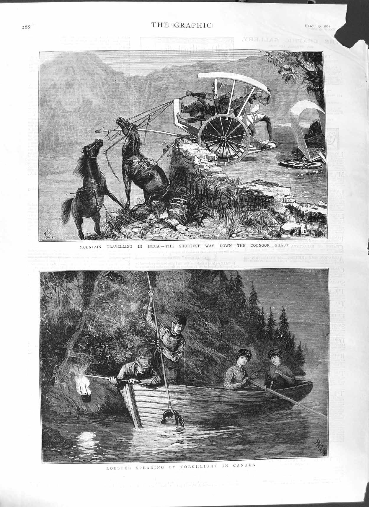 [Print 1881 Mountain Inidia Coohoor Lobster Fishing Canada 268M123 Old Original]
