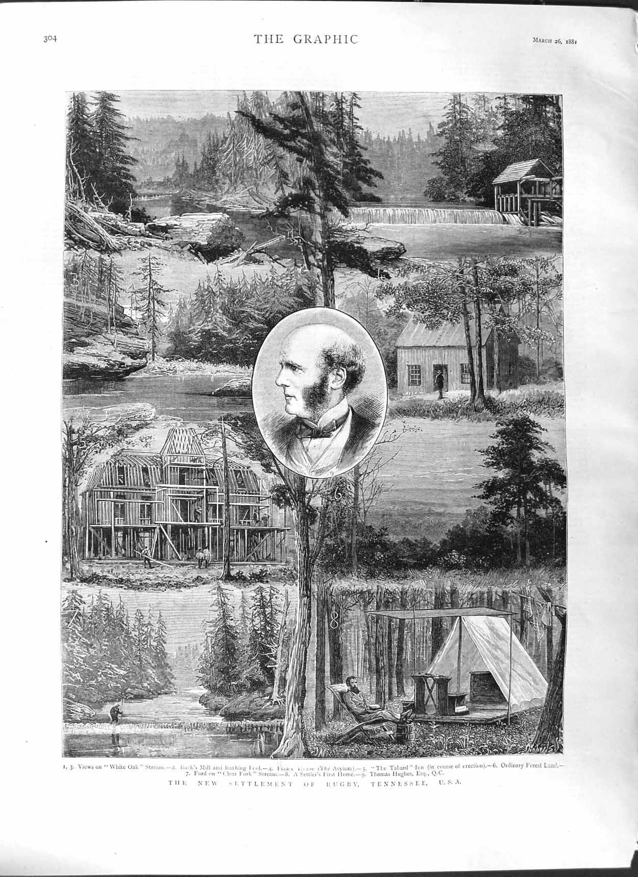 [Print 1881 Settlement Rugby Tennessee America Thomas Hughes  Old Original]