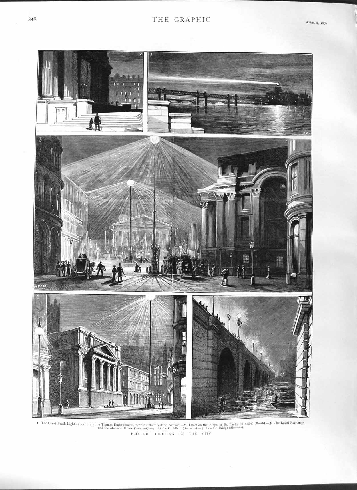 [Print 1881 Electric Light London Paul'S Cathedral Guildhall 348M123 Old Original]