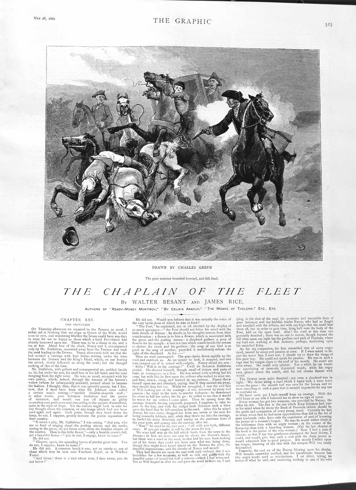 [Print 1881 Illustration Story Chaplain Fleet Highway Robbers 525M123 Old Original]