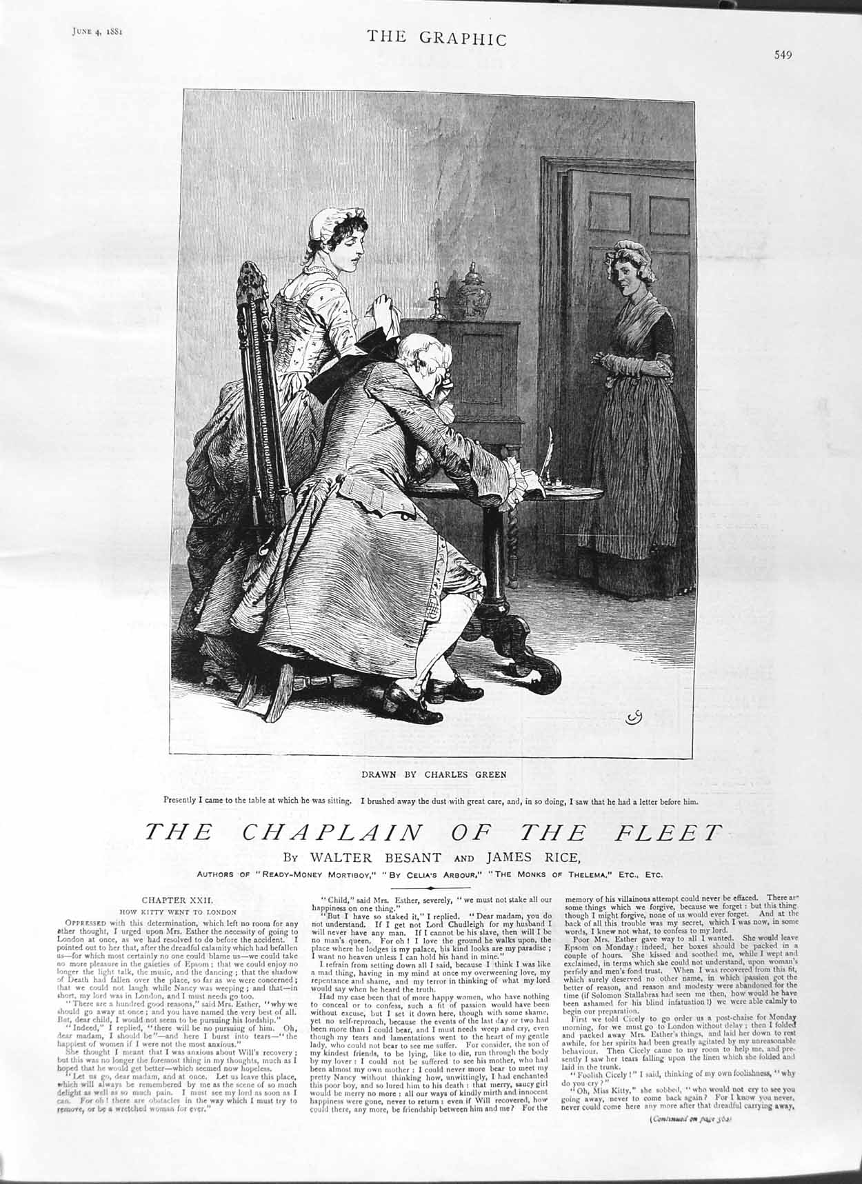 [Print 1881 Illustration Chaplain Fleet Story Charles Green 549M123 Old Original]