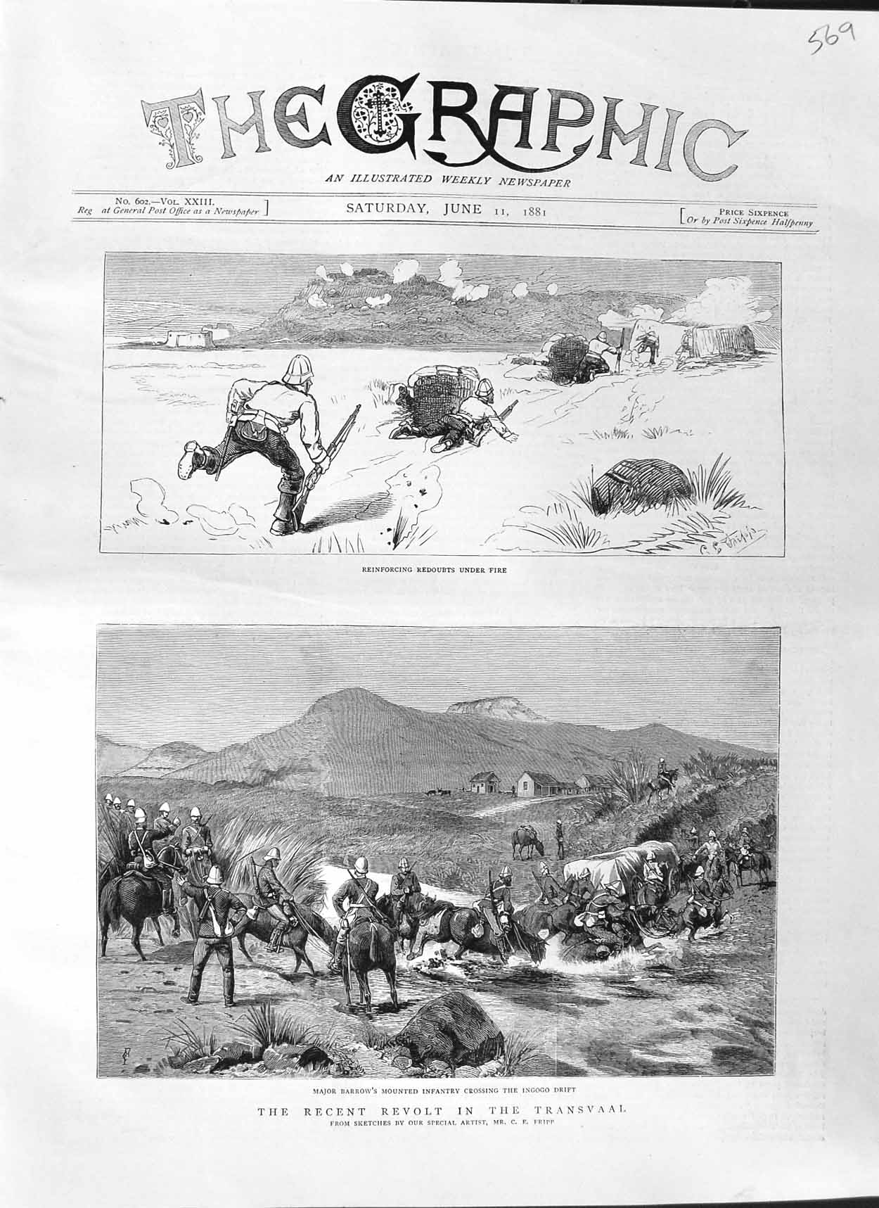 [Print 1881 War Transvaal Major Barrow Ingogo Drift Redoubts 569M123 Old Original]