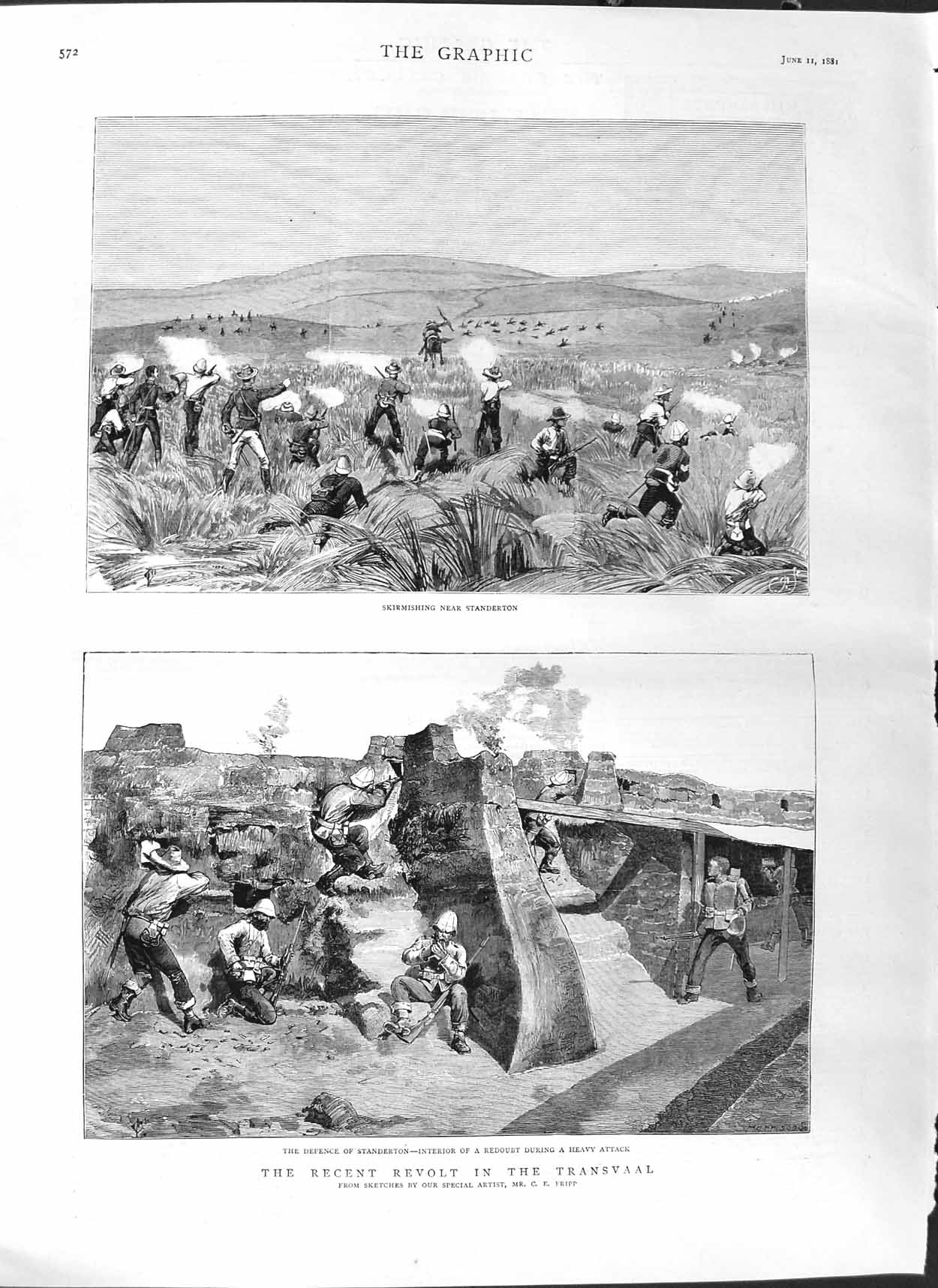 [Print 1881 Transvaal War Standerton Defence Soldiers Redoubt 572M123 Old Original]