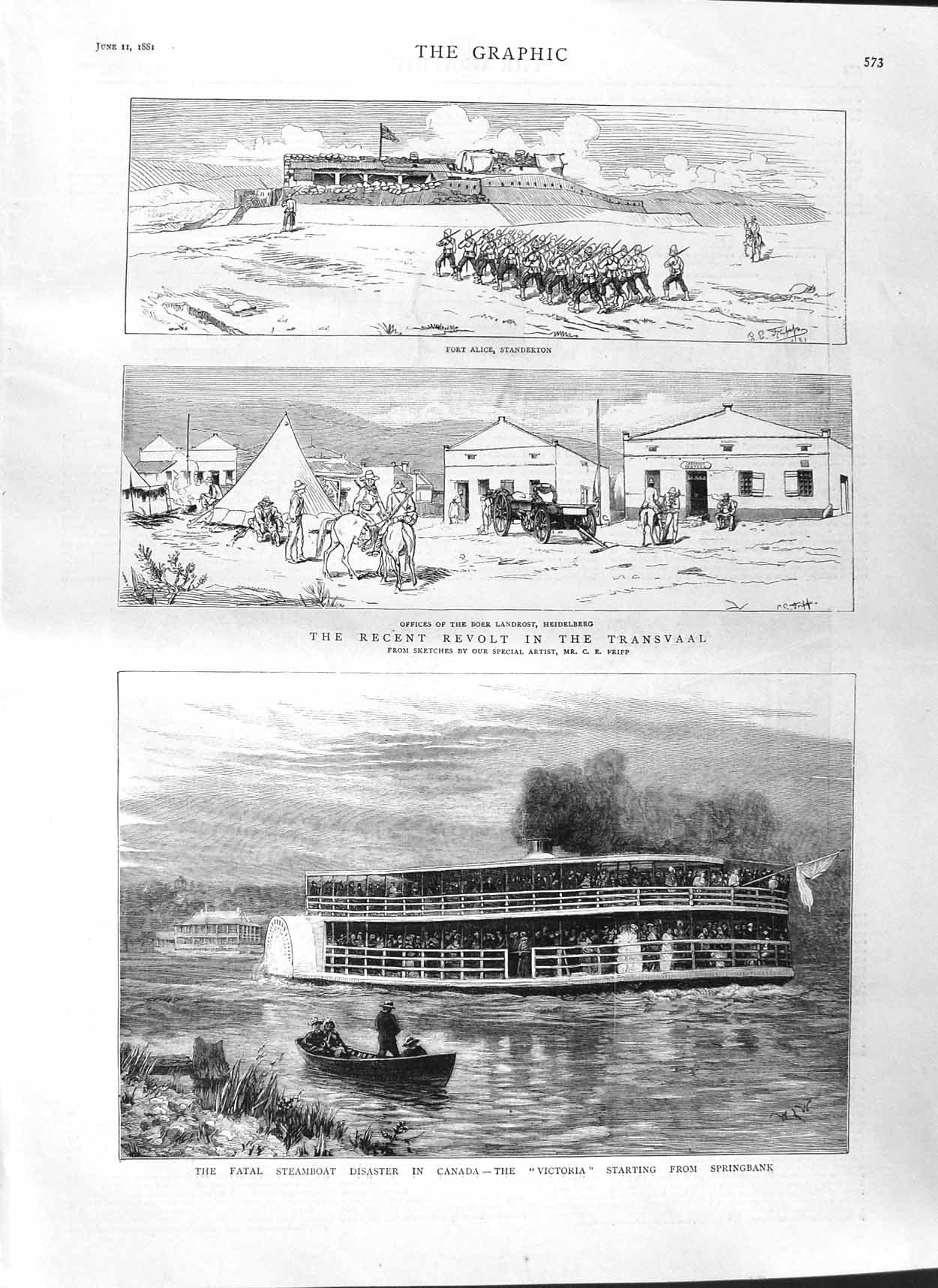 [Print 1881 Steamboat Disaster Canada Victoria Transvaal War 573M123 Old Original]