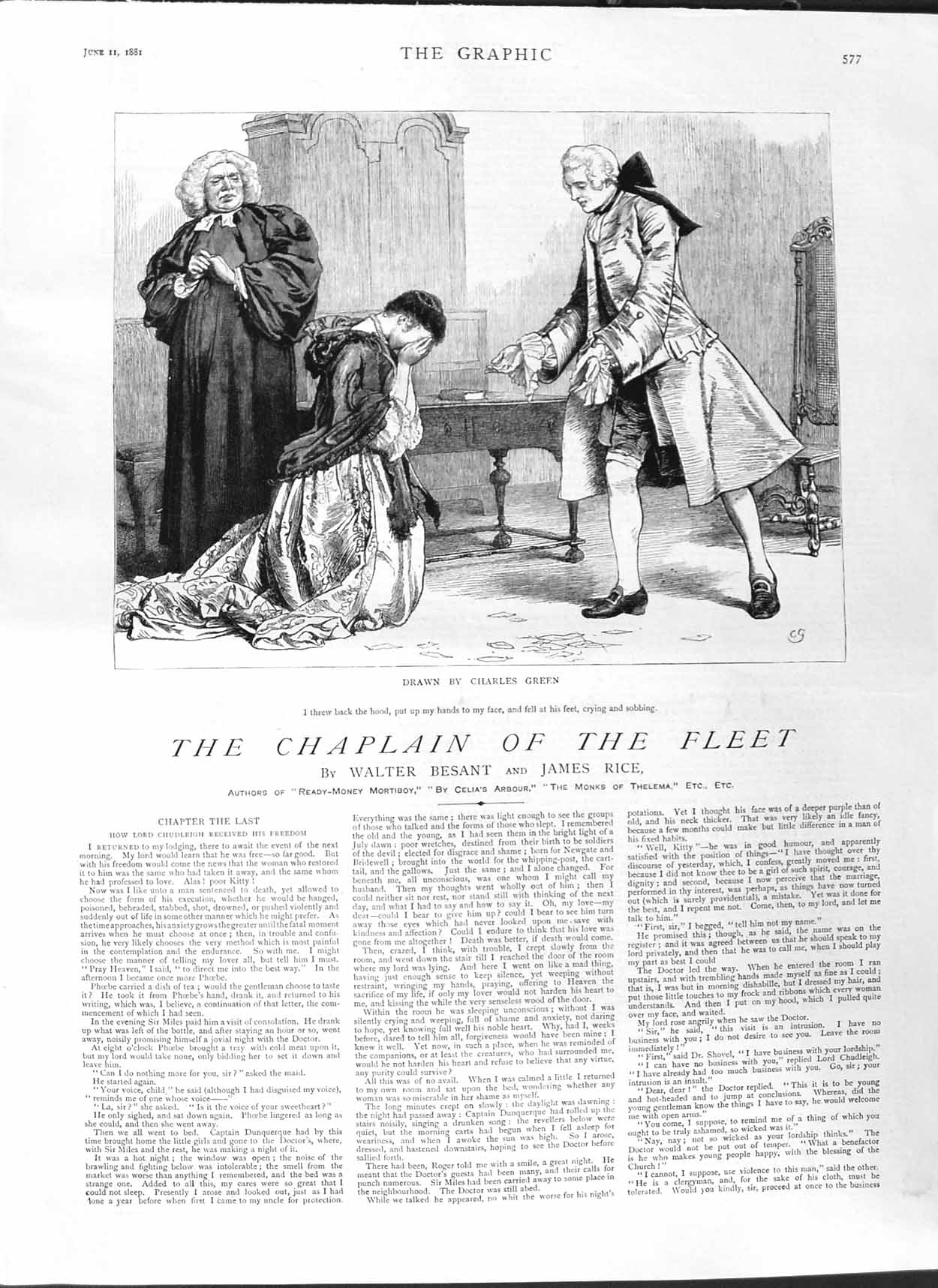 [Print 1881 Illustration Story Chaplain Fleet Charles Green 577M123 Old Original]