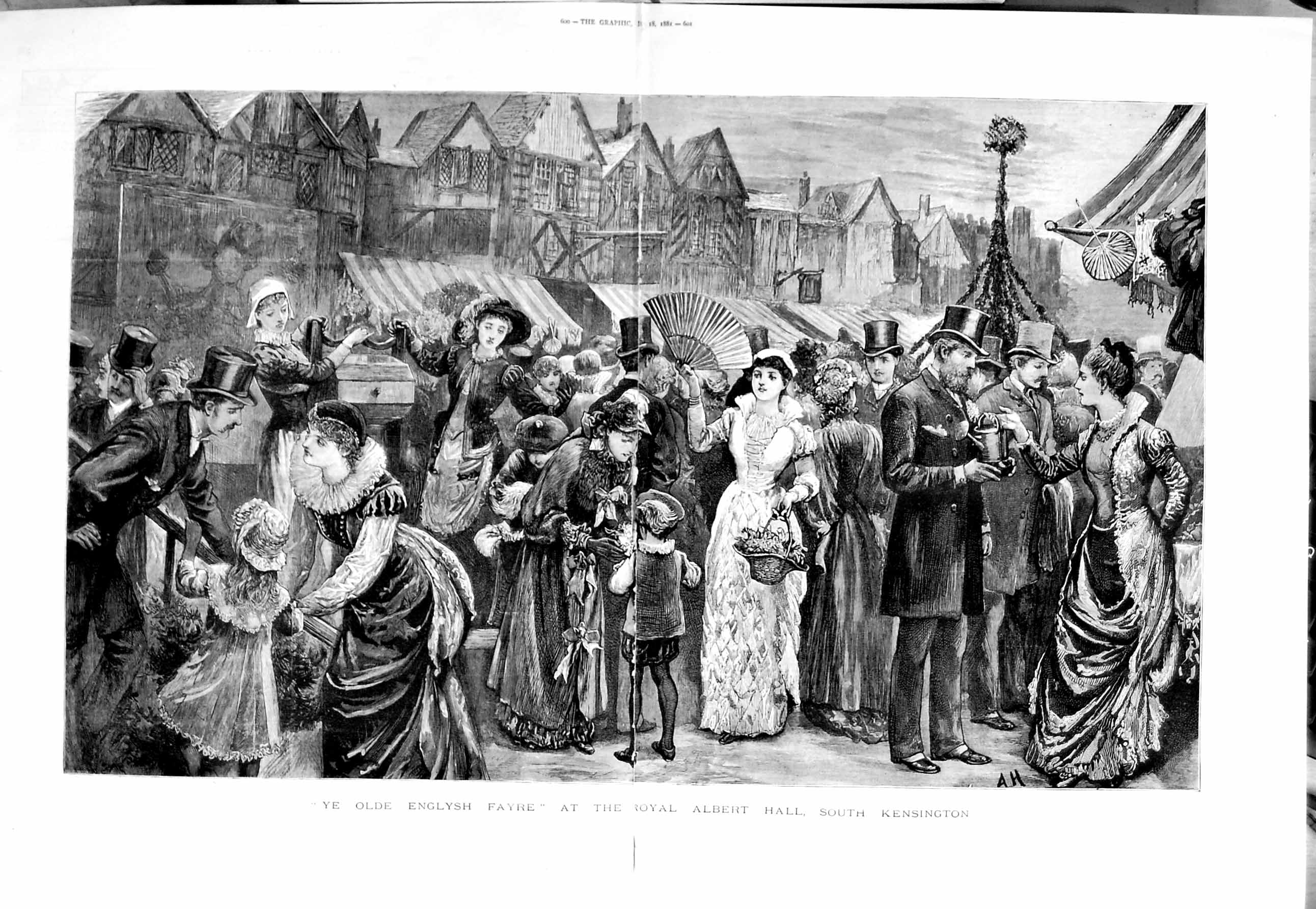 [Print 1881 Royal Albert Hall South Kensington English Fayre 599Tm123 Old Original]