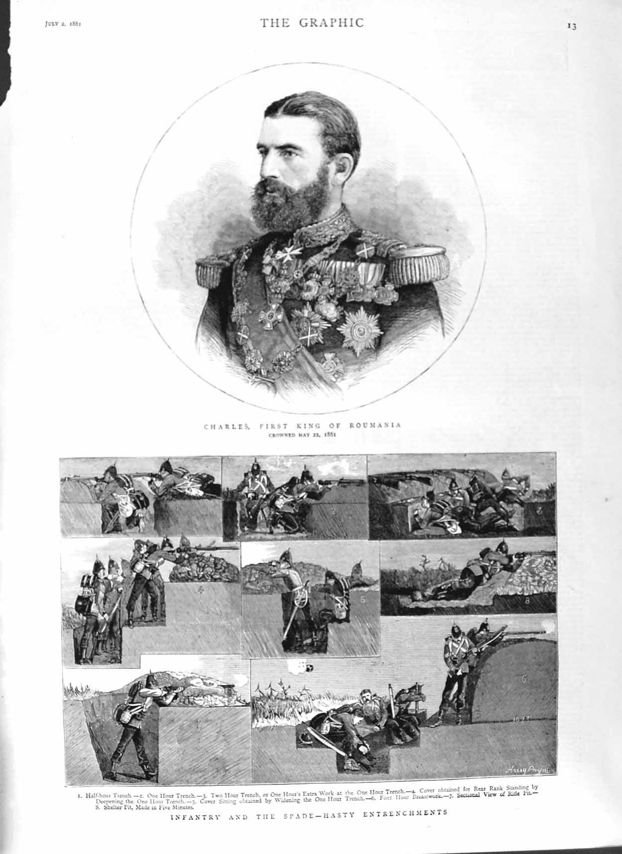 [Print 1881 Portrait Charles King Roumania Soldiers Trench War 013M124 Old Original]