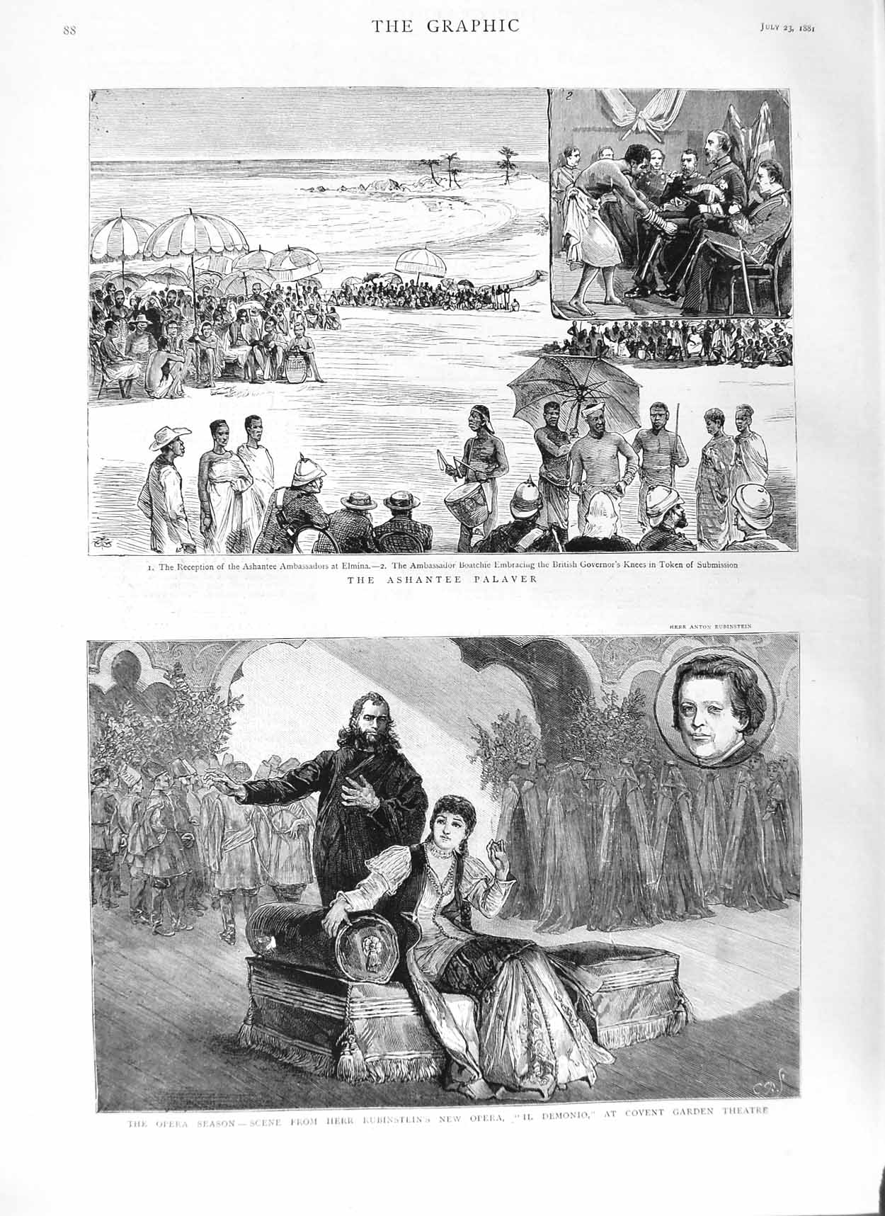 [Print 1881 Opera Rubinstein Demonio Covent Theatre Ashantee 088M124 Old Original]