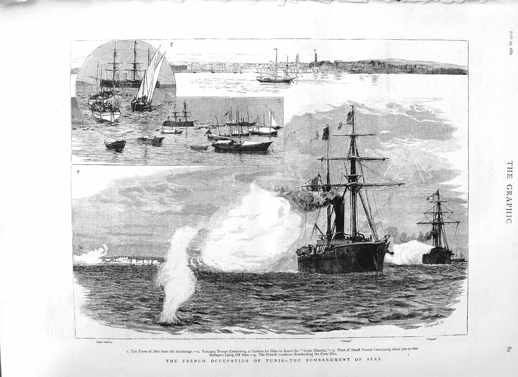 [Print 1881 French Army Tunis Bombardment Sfax Ships Pique War 089M124 Old Original]