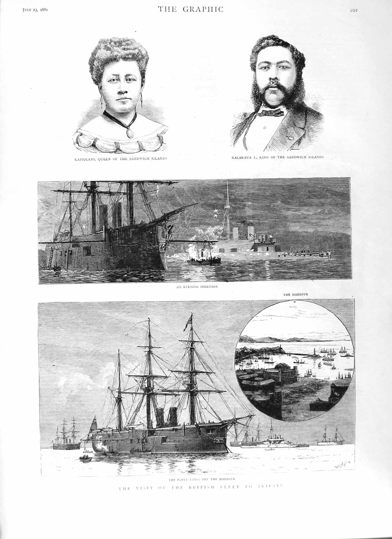 [Print 1881 British Ships Trieste Queen Sandwich Kalakaua King 101M124 Old Original]
