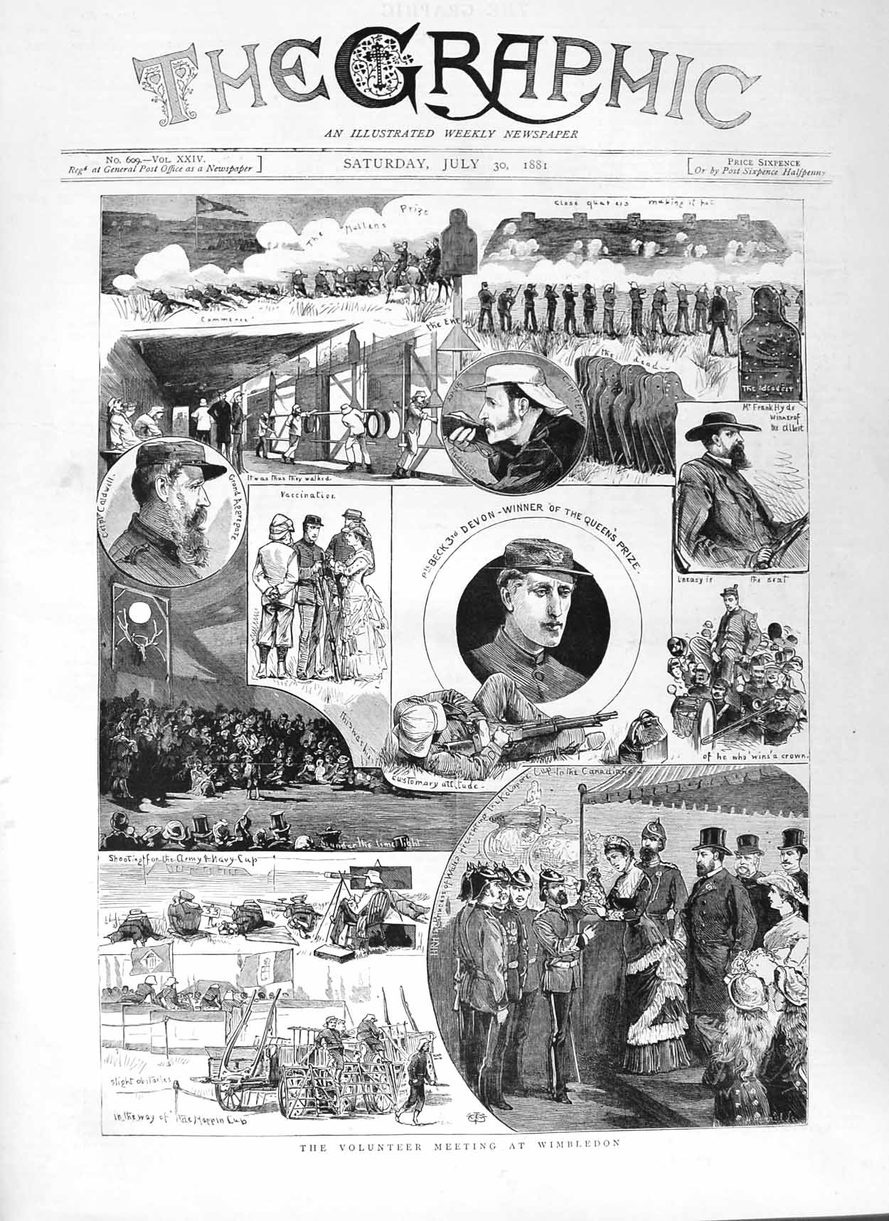 [Print 1881 Soldiers Volunteers Wimbledon Rifle Shooting Sport 105M124 Old Original]