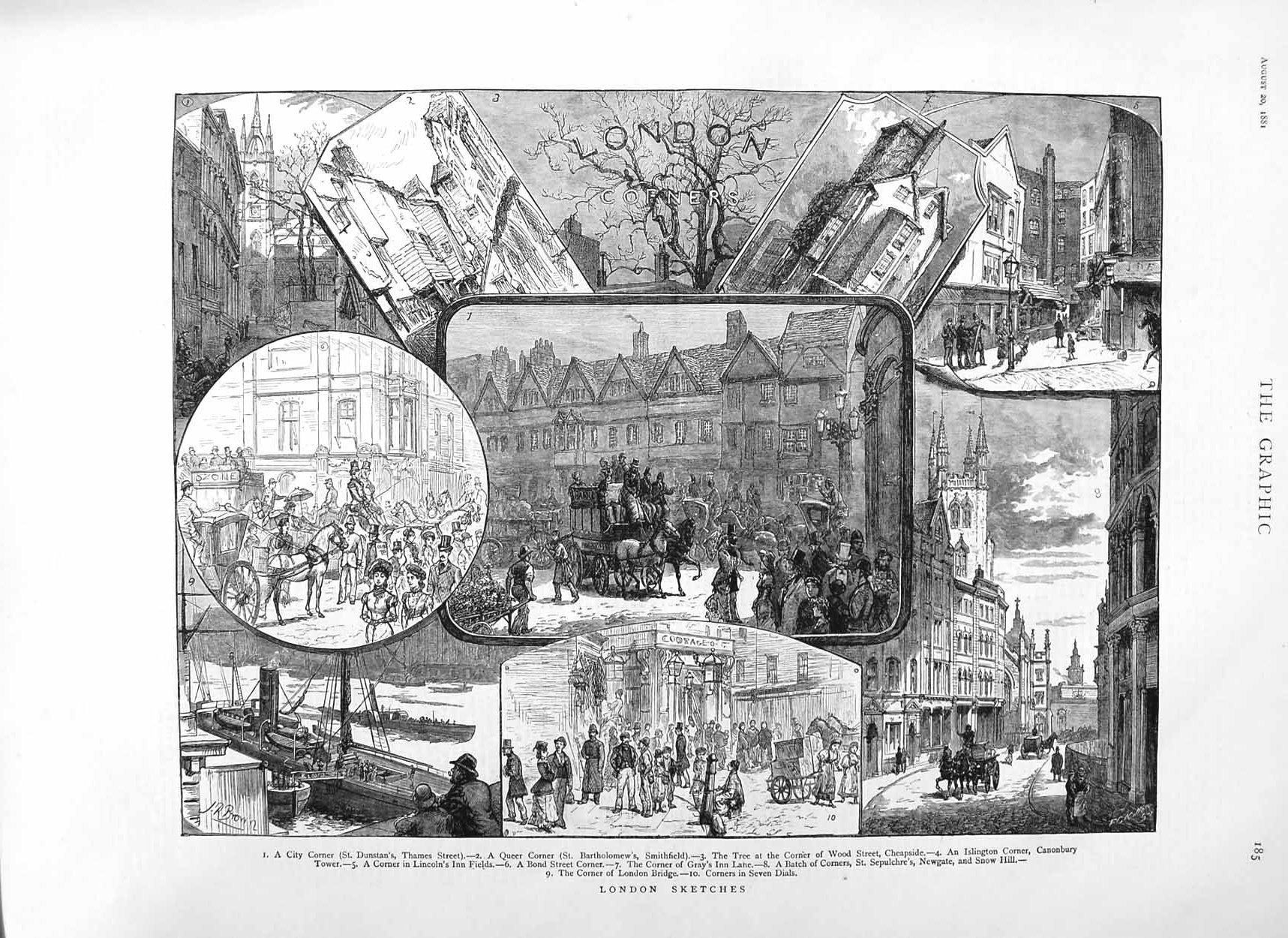 [Print 1881 London Bartholomews Islington Bridge Canonbury 185M124 Old Original]