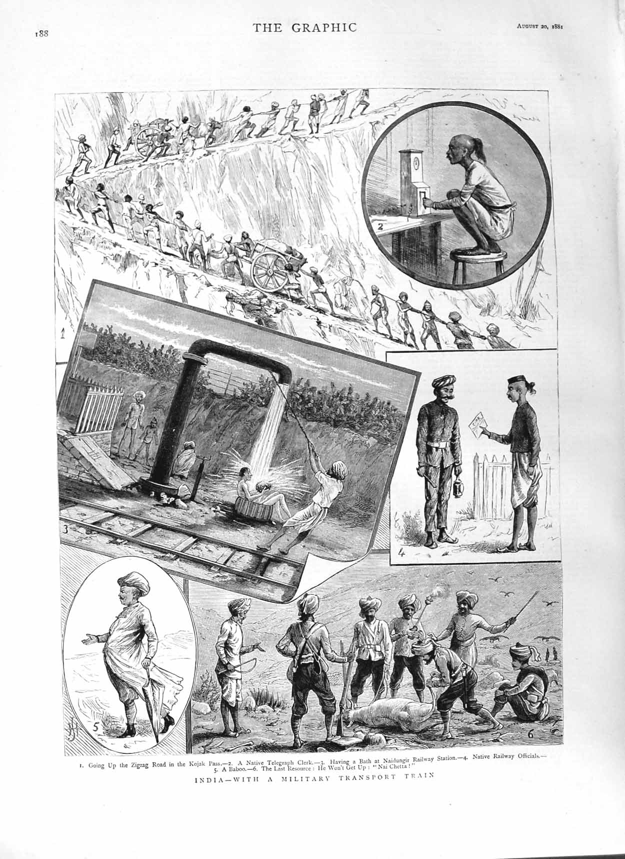 [Print 1881 India Military Transport Train Kojak Pass Railway 188M124 Old Original]