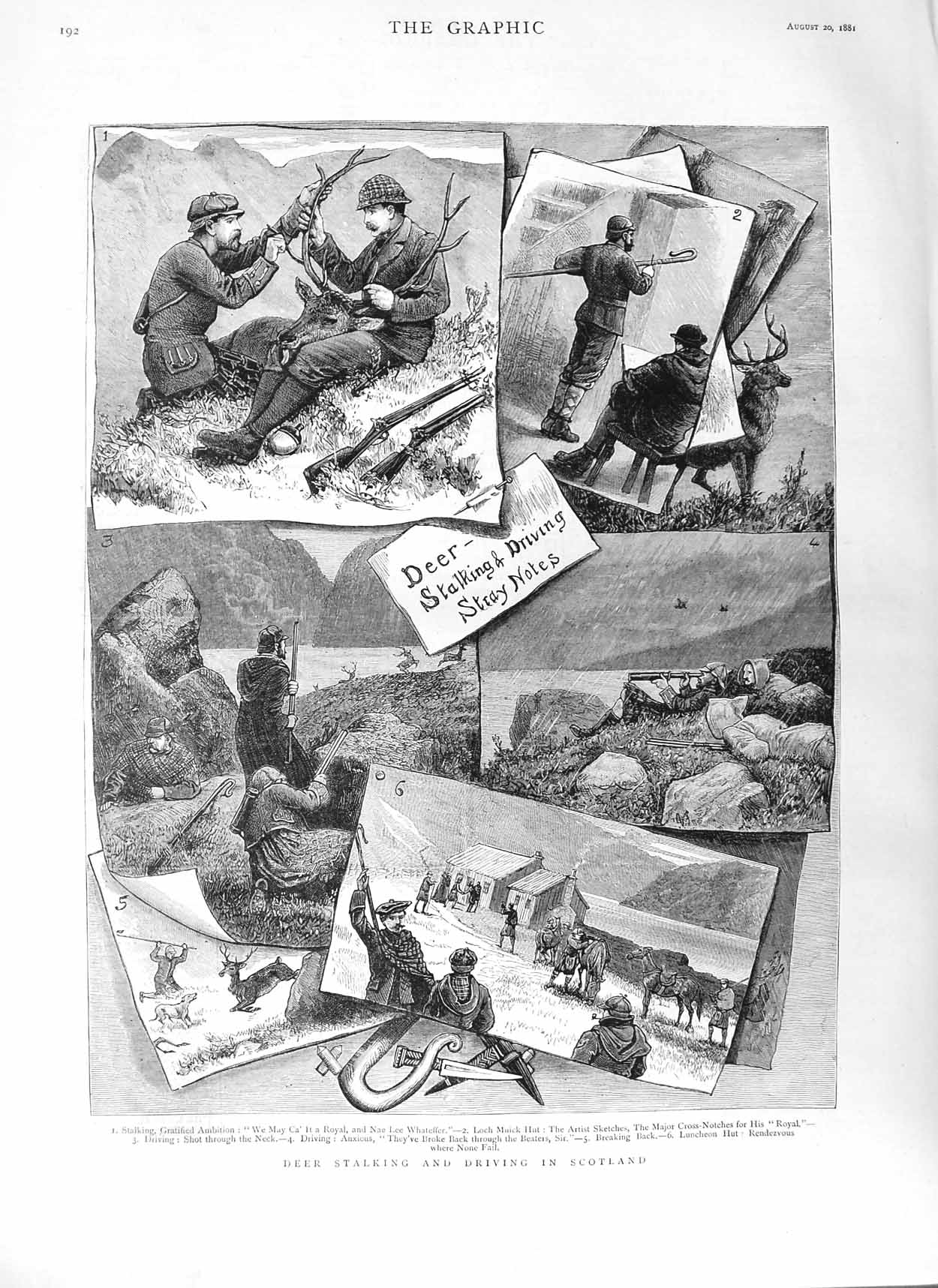 [Print 1881 Deer Stalking Driving Scotland Hunting Sport 192M124 Old Original]