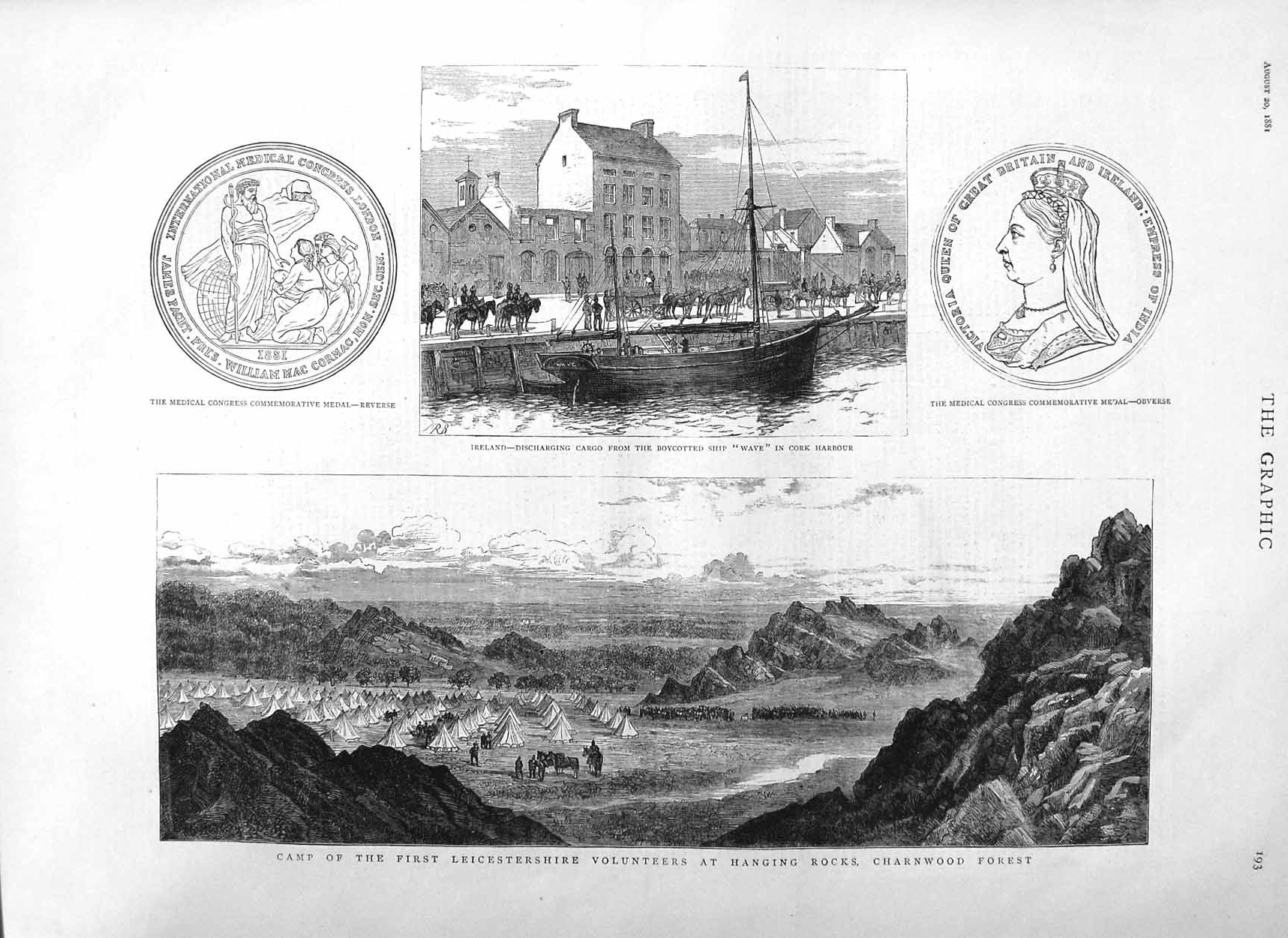 [Print 1881 Ireland Ship Cork Harbour Leicestershire Army Camp 193M124 Old Original]