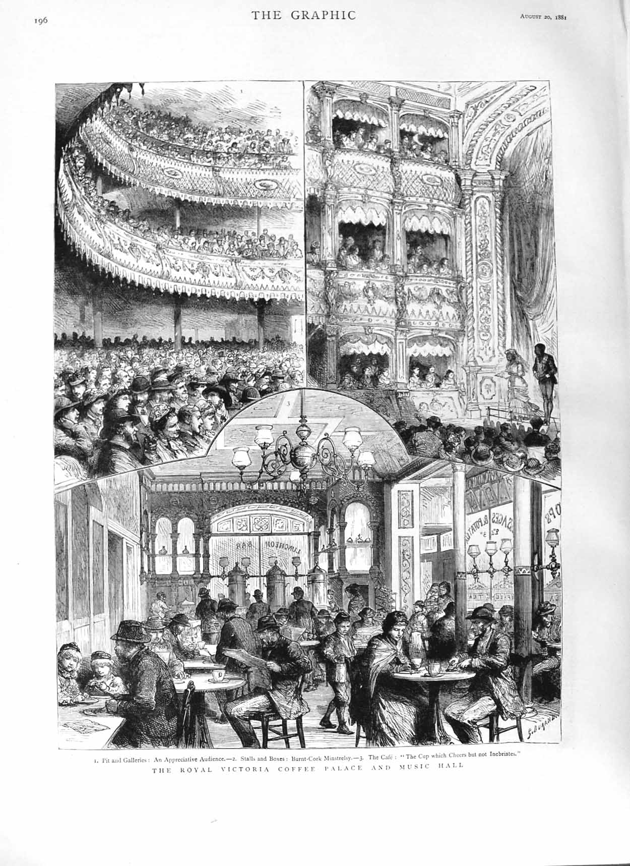 [Print 1881 Royal Victoria Coffee Palace Music Hall Theatre  Old Original]