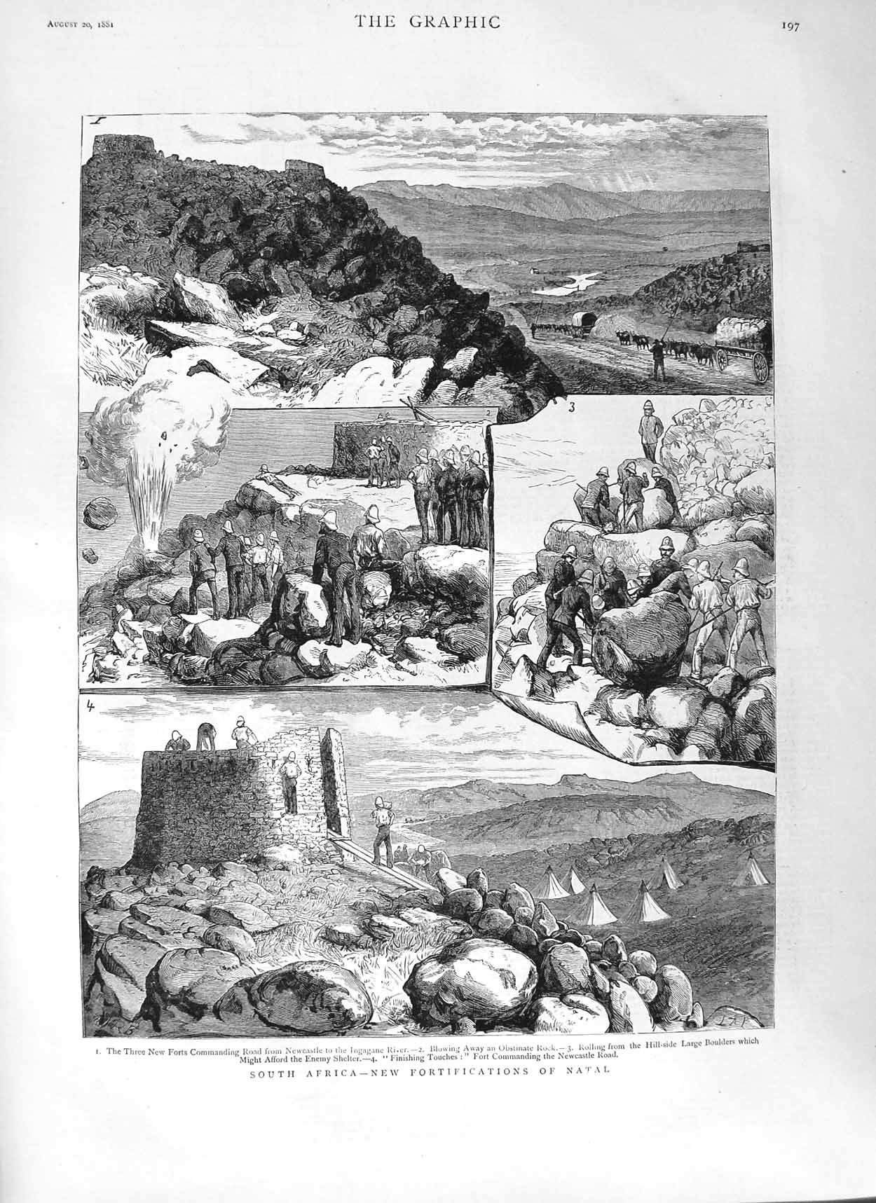 [Print 1881 South Africa Natal Forts Ingagane River Newcastle 197M124 Old Original]