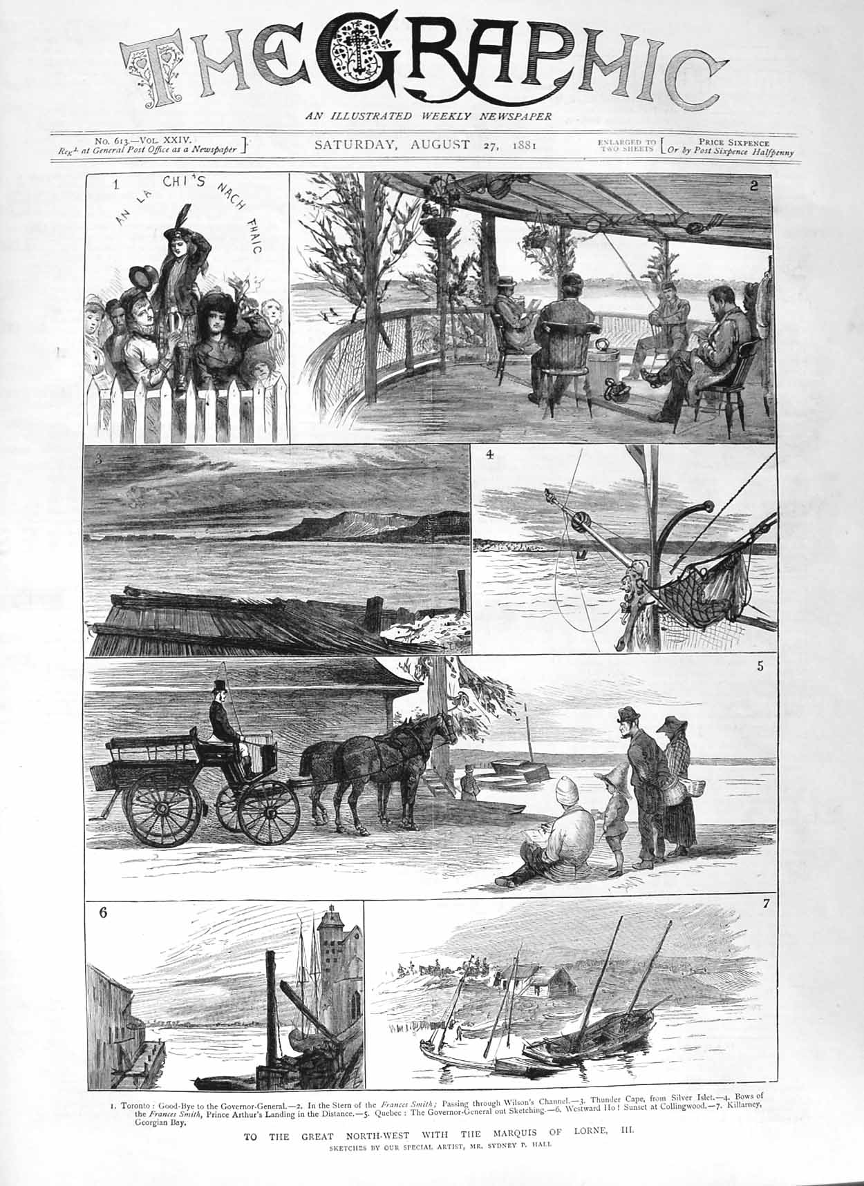 [Print 1881 Marquis Lorne Toronto Ship Frances Smith Arthur 201M124 Old Original]