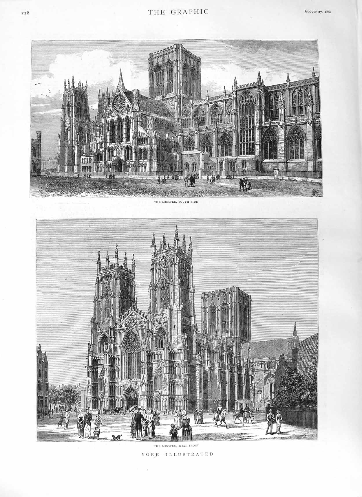 [Print 1881 York Minster Cathedral Church Architecture 228M124 Old Original]
