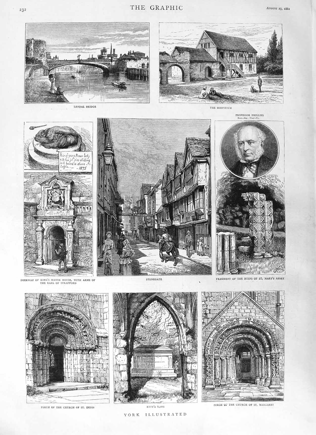 [Print 1881 York Lendal Bridge Stonegate Mary'S Abbey Denis 232M124 Old Original]