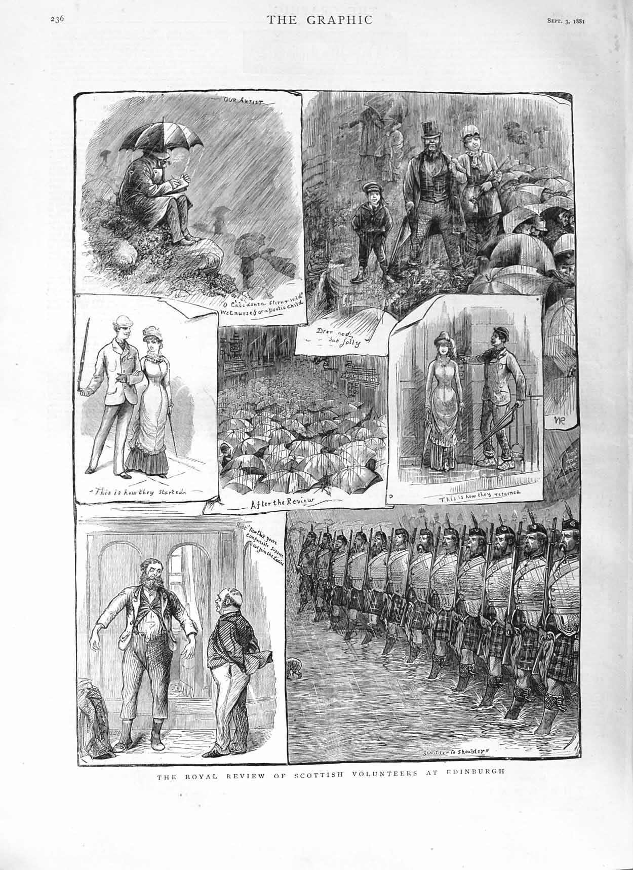[Print 1881 Scottish Army Volunteers Edinburgh Royal Review 236M124 Old Original]